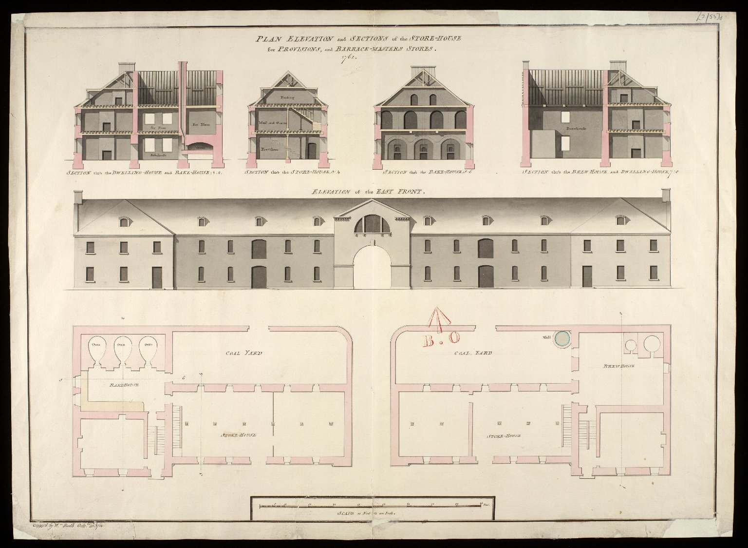 Plan elevation and sections of the store-house for provisions, and barrack-masters stores 1762 [copy] [1 of 1]