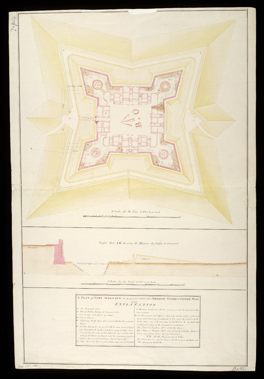 A Plan of Fort Augustus in its present state with a designd fossee & cover'd way 1747 [copy] [1 of 1]