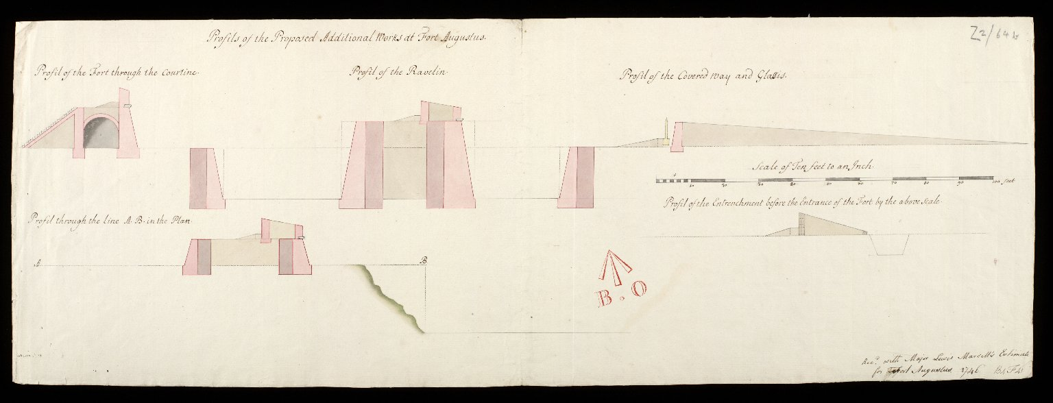 Profils of the proposed additional works at Fort Augustus : profil of the fort through the courtine; profil of the ravelin; profil of the covered way and glassis; profil through the line A.B in the plan; [...] [1 of 1]