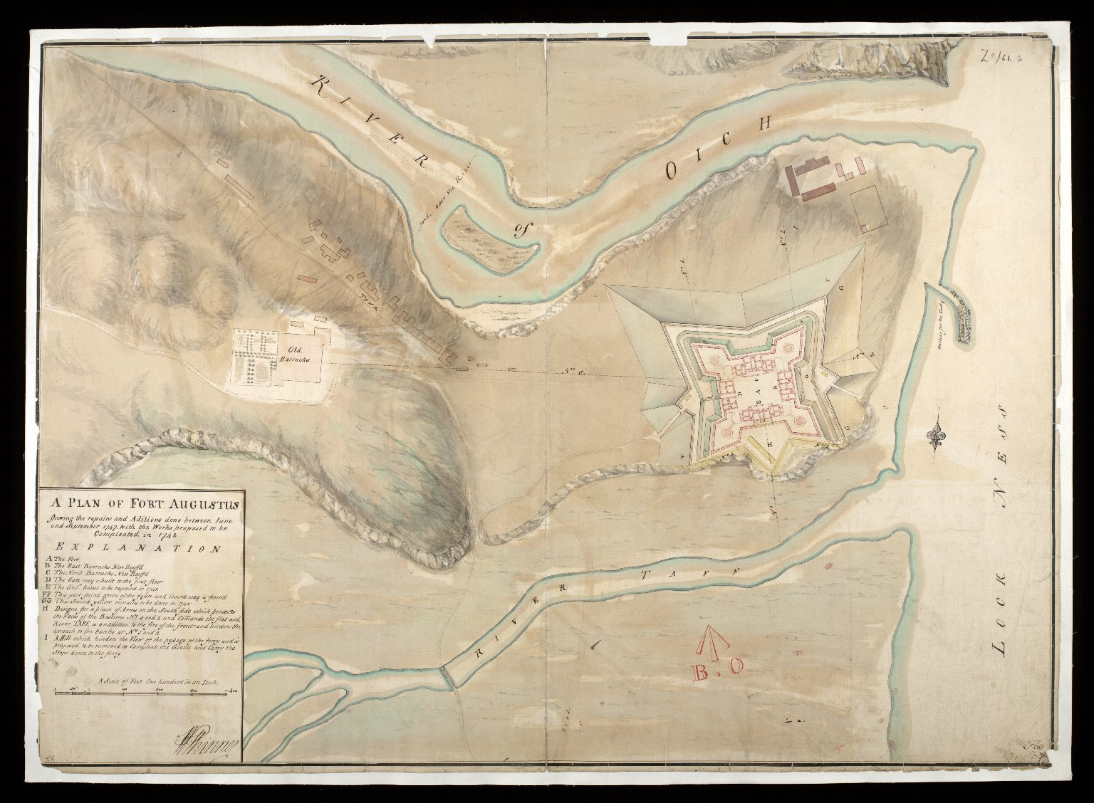 A Plan of Fort Augustus : shewing the repairs and aditions done between Iune and September 1747, with the works proposed to be compleated in 1748 [1 of 1]