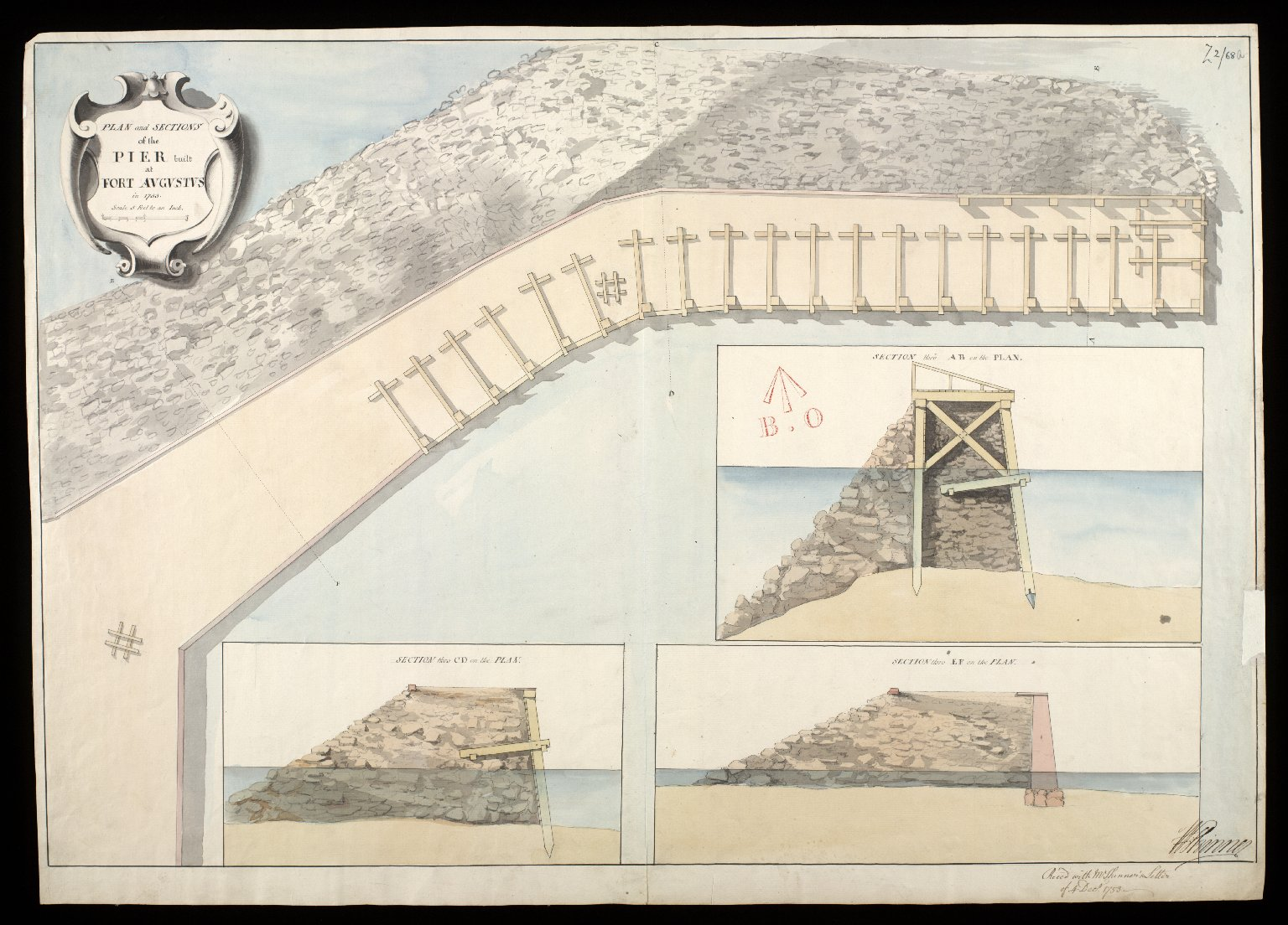 Plan and sections of the pier built at Fort Augustus in 1753 [1 of 1]