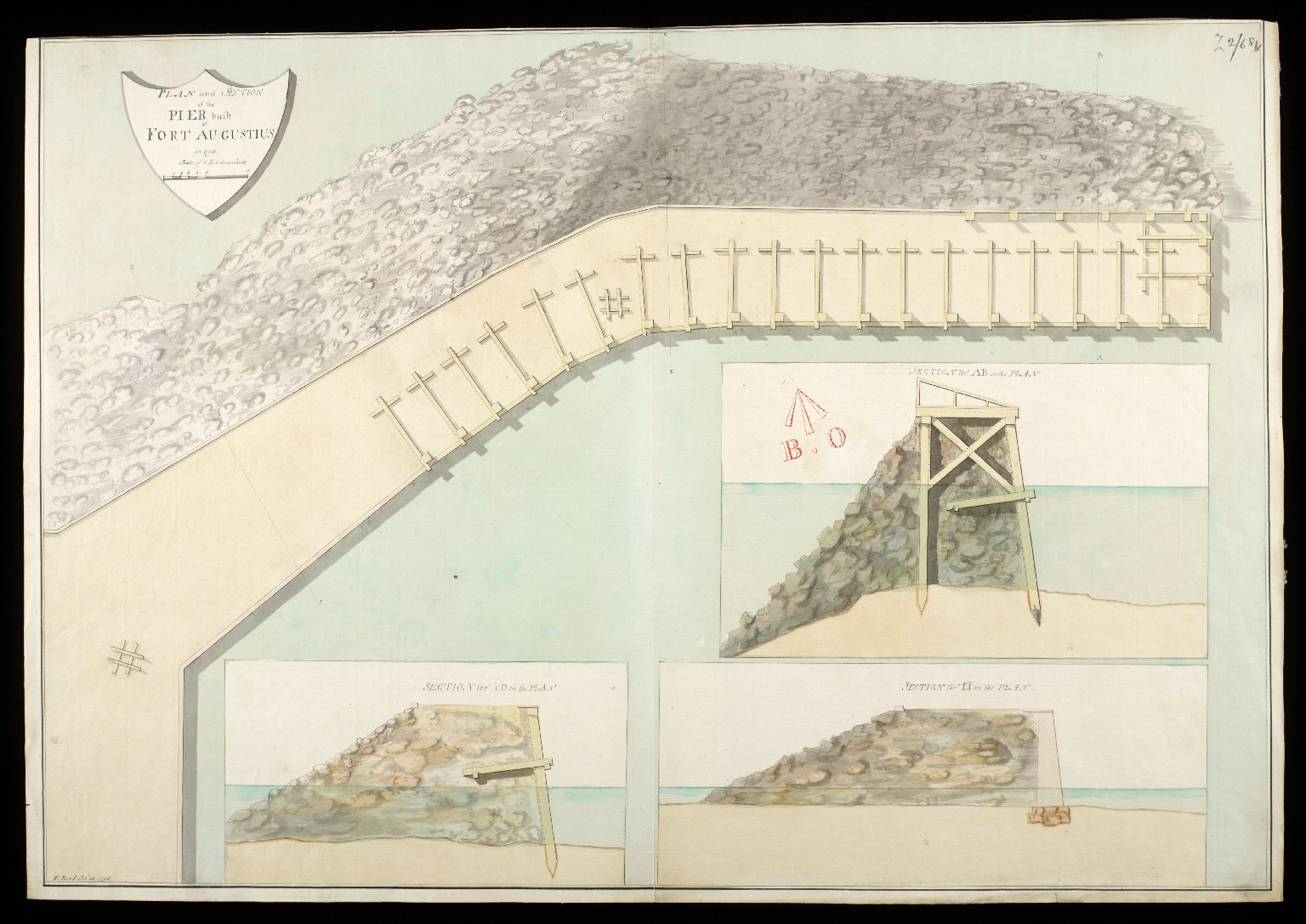 Plan and section of the pier built at Fort Augustus in 1753 [copy] [1 of 1]