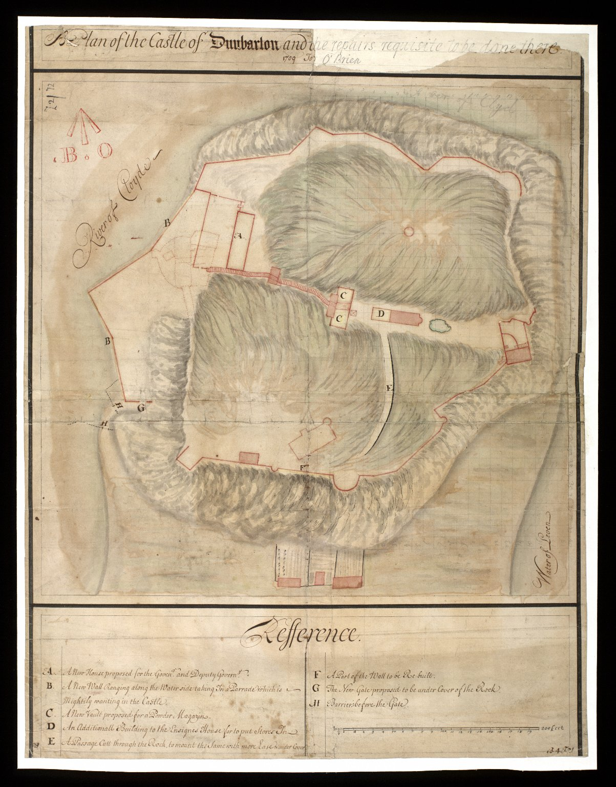 A Plan of the castle of Dunbarton [ie. Dumbarton] : and the repairs requisite to be done there 1709 [1 of 1]