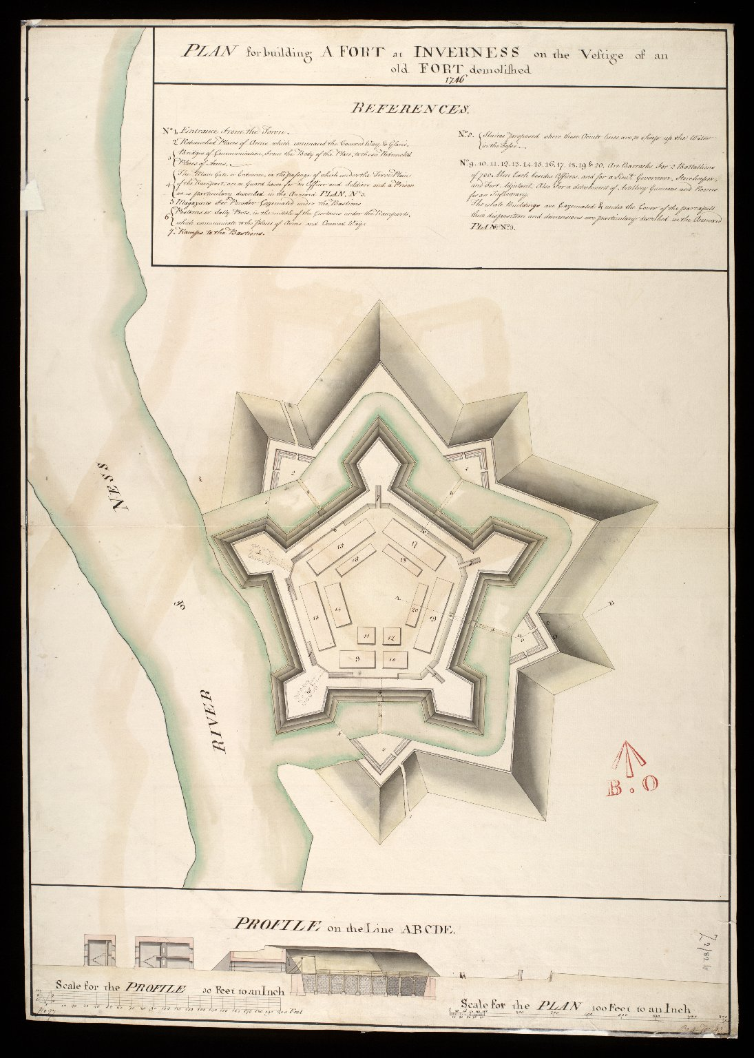 Plan for building a Fort at Inverness on the vestige of an old fort demolished 1746 [1 of 1]