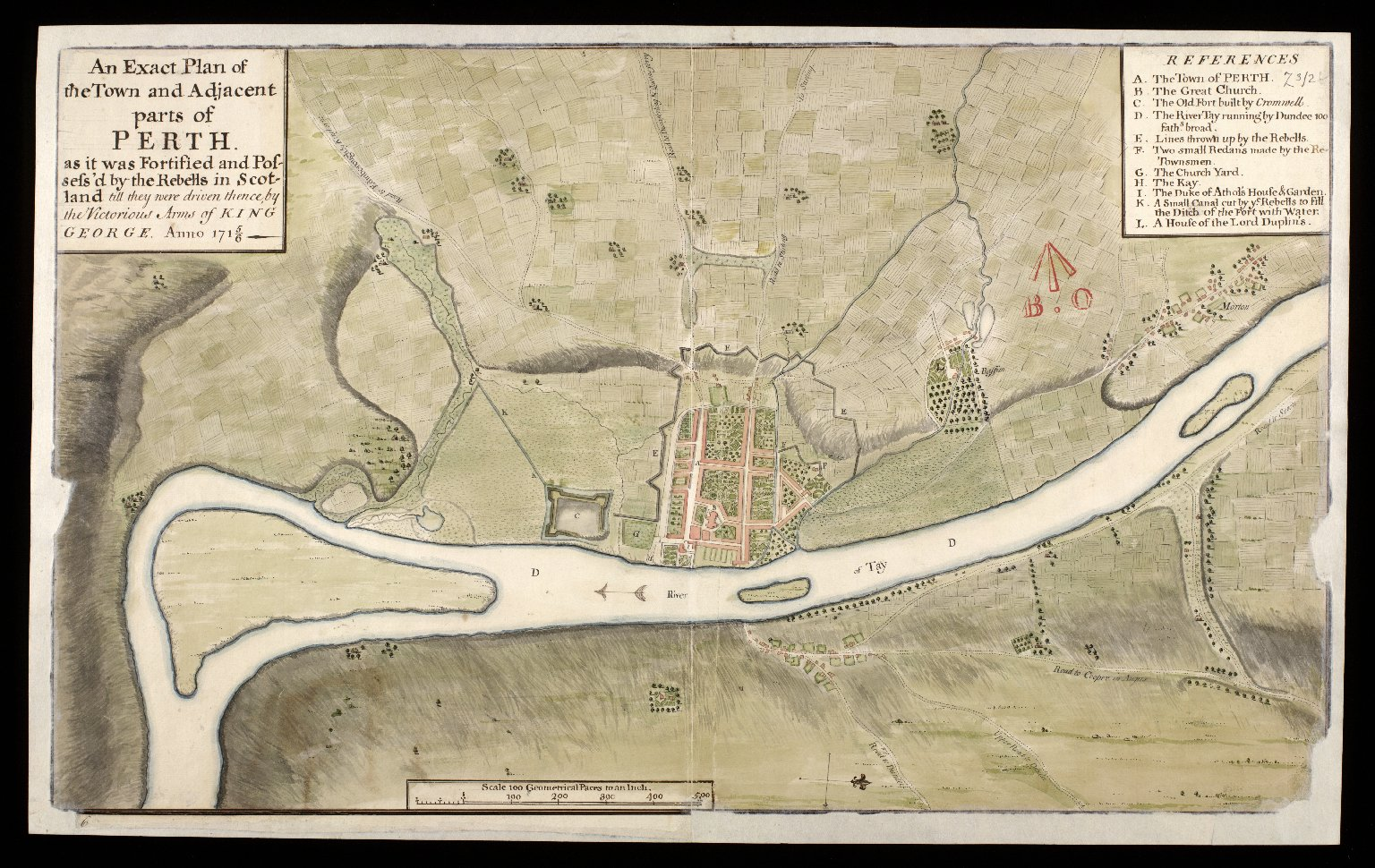 An Exact plan of the town and adjacent parts of Perth : as it was fortified and possessed by the rebells in Scotland, till they were driven thence by the victorious arms of King George, Anno 1715/6 [copy] [1 of 1]