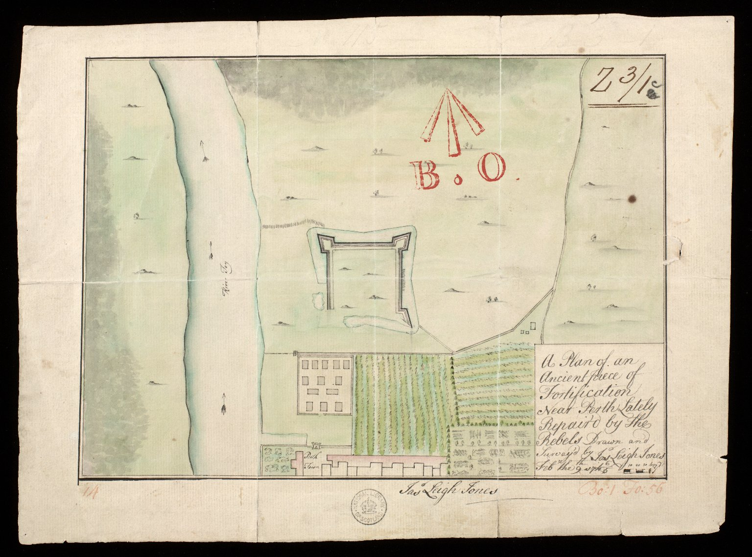 A Plan of an ancient piece of fortification near Perth, lately repair'd by the rebels [1 of 1]