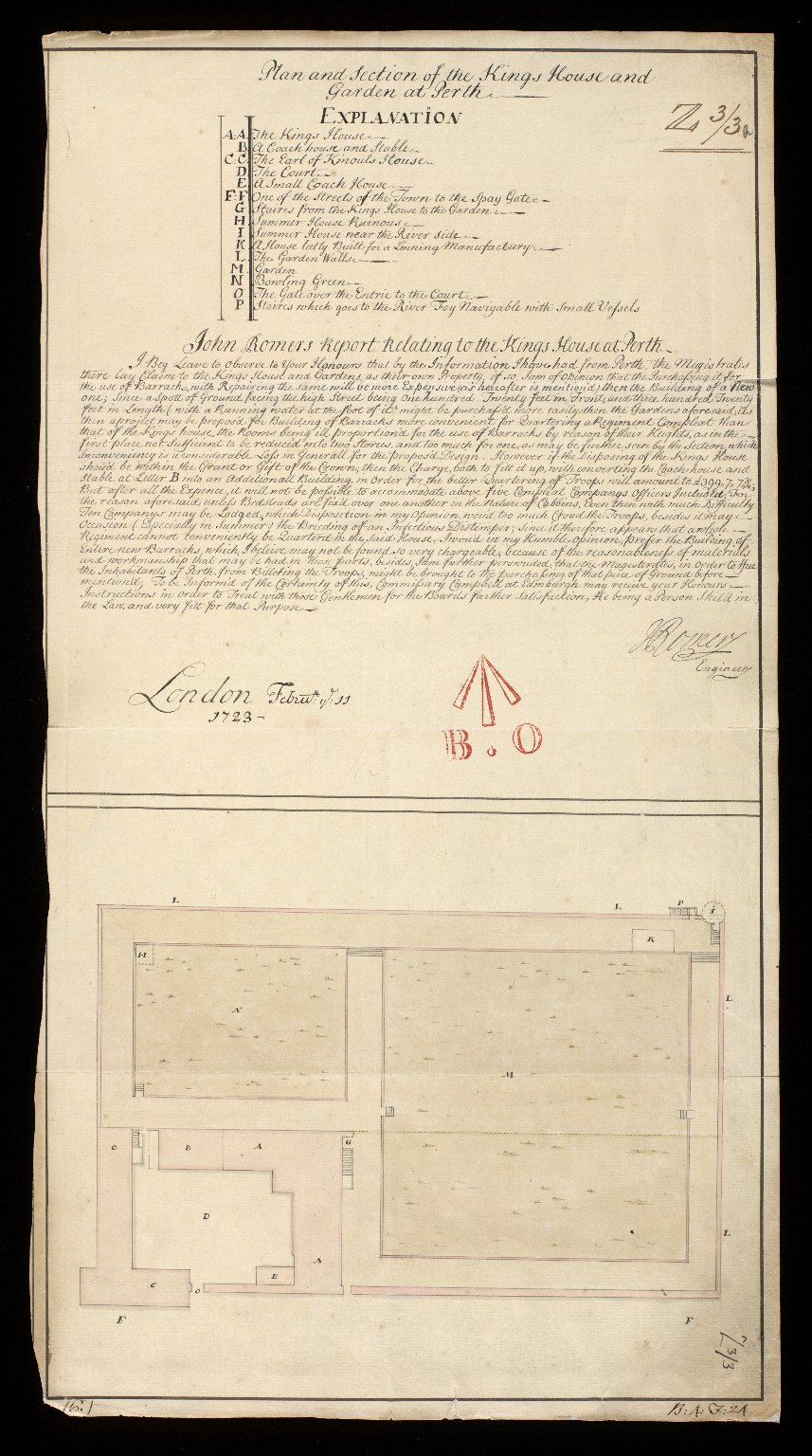 Plan and Section of the Kings House and Garden at Perth [1 of 1]