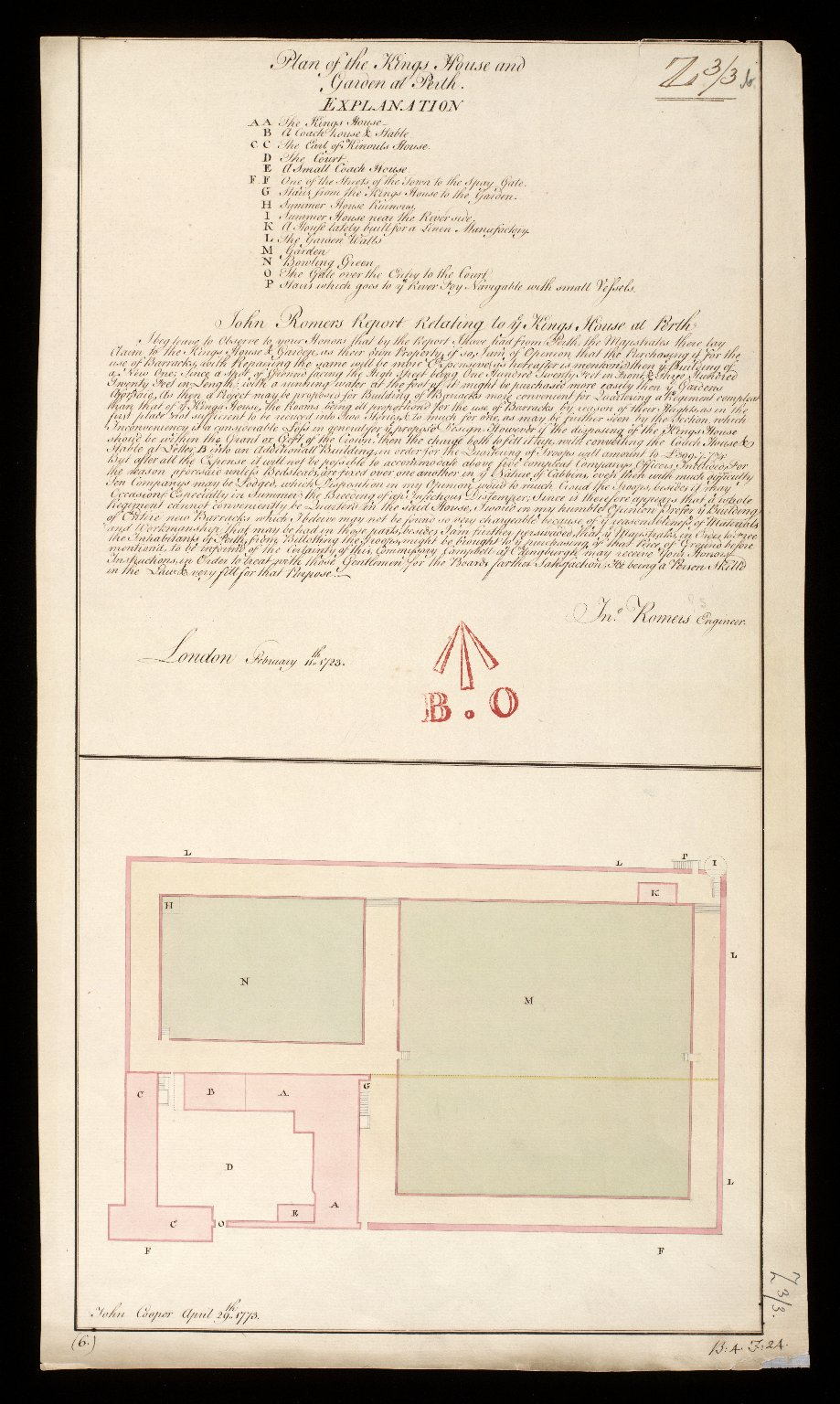 Plan and Section of the Kings House and Garden at Perth [1723] [copy] [1 of 1]