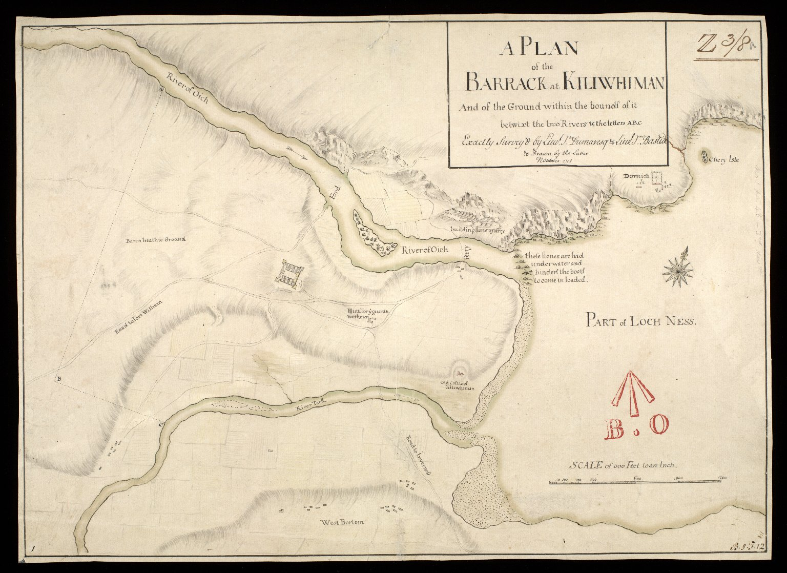 A Plan of the barrack at Kiliwhiman [i.e. Kiliwhimen] : and of the ground within the bounds of it betwixt the two rivers & the letters AB.C [1 of 1]