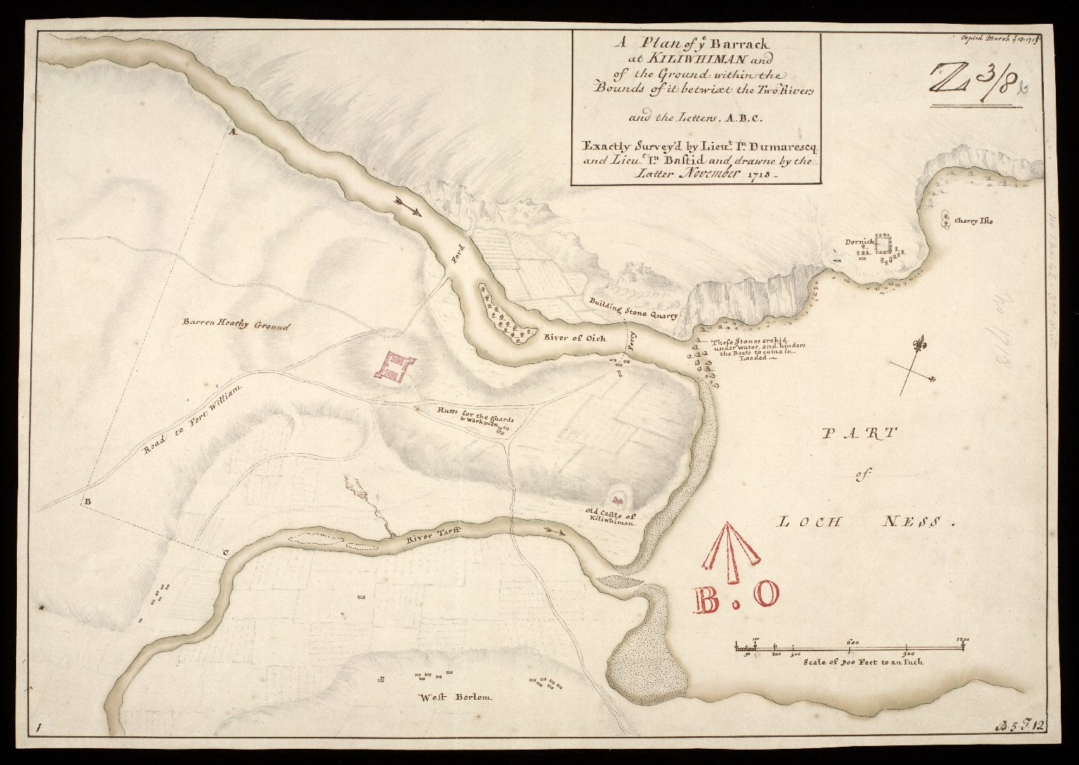 A Plan of ye barrack at Kiliwhiman [i.e. Kiliwhimen] : and of the ground within the bounds of it betwixt the two rivers; and the letters A.B.C [copy] [1 of 1]