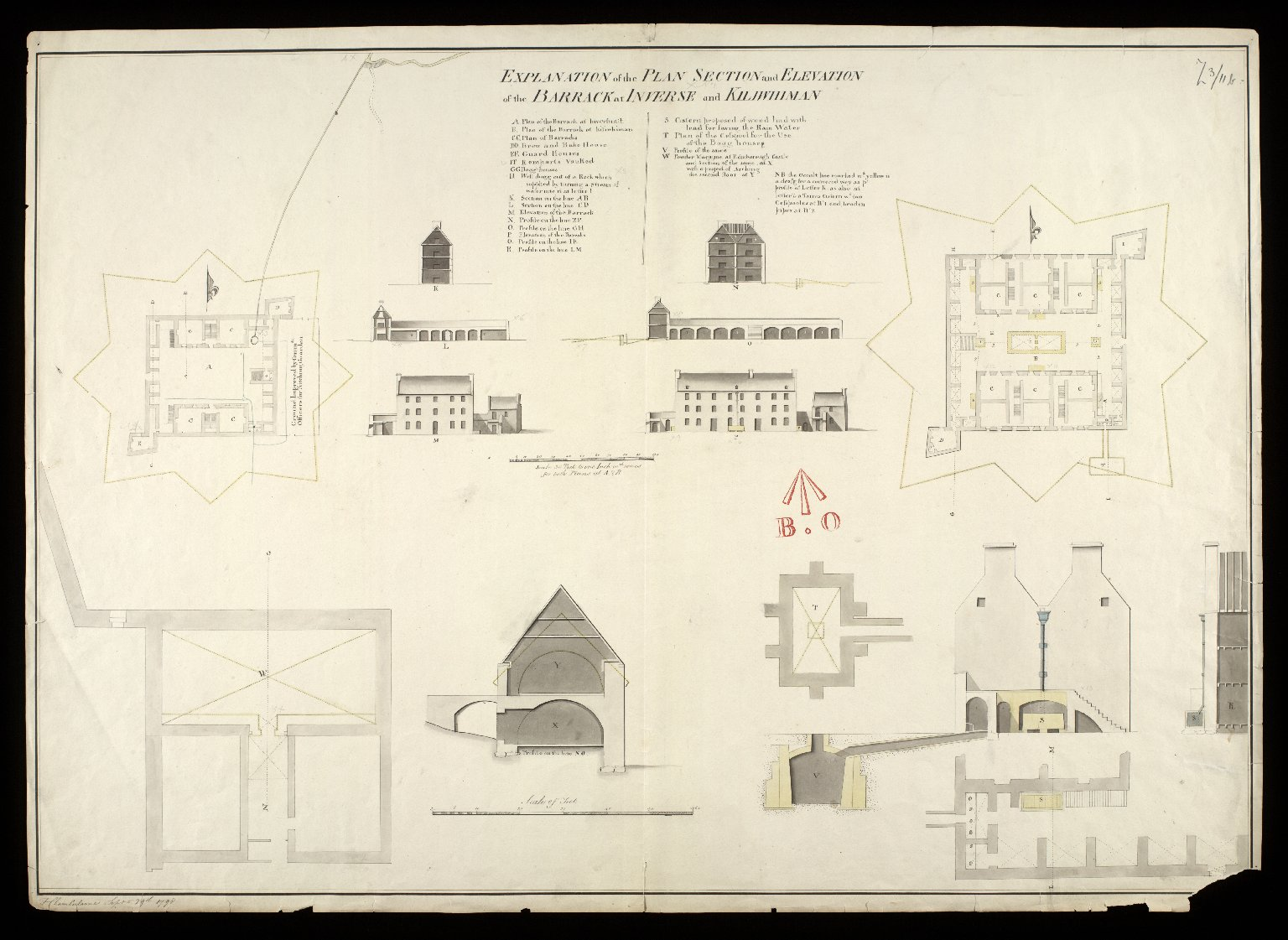Plan, section and elevation of the barrack at Inveersnait [i.e. Inversnaid] & Kiliwhiman [i.e. Kiliwhimen] [with] Explanation; powder magasine at Edinbgh. Castle and section of the same at x; with a project of arching the second floor at y [1720] [copy] [1 of 1]
