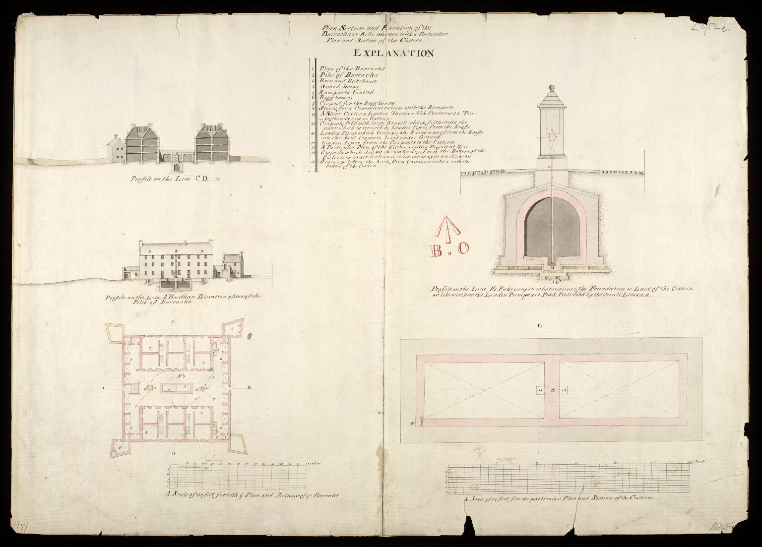 Plan, section and elevation of the barracks at Killi-whimen [i.e. Kiliwhimen] : with a particular plan and section of the cistern [1723] [copy] [1 of 1]