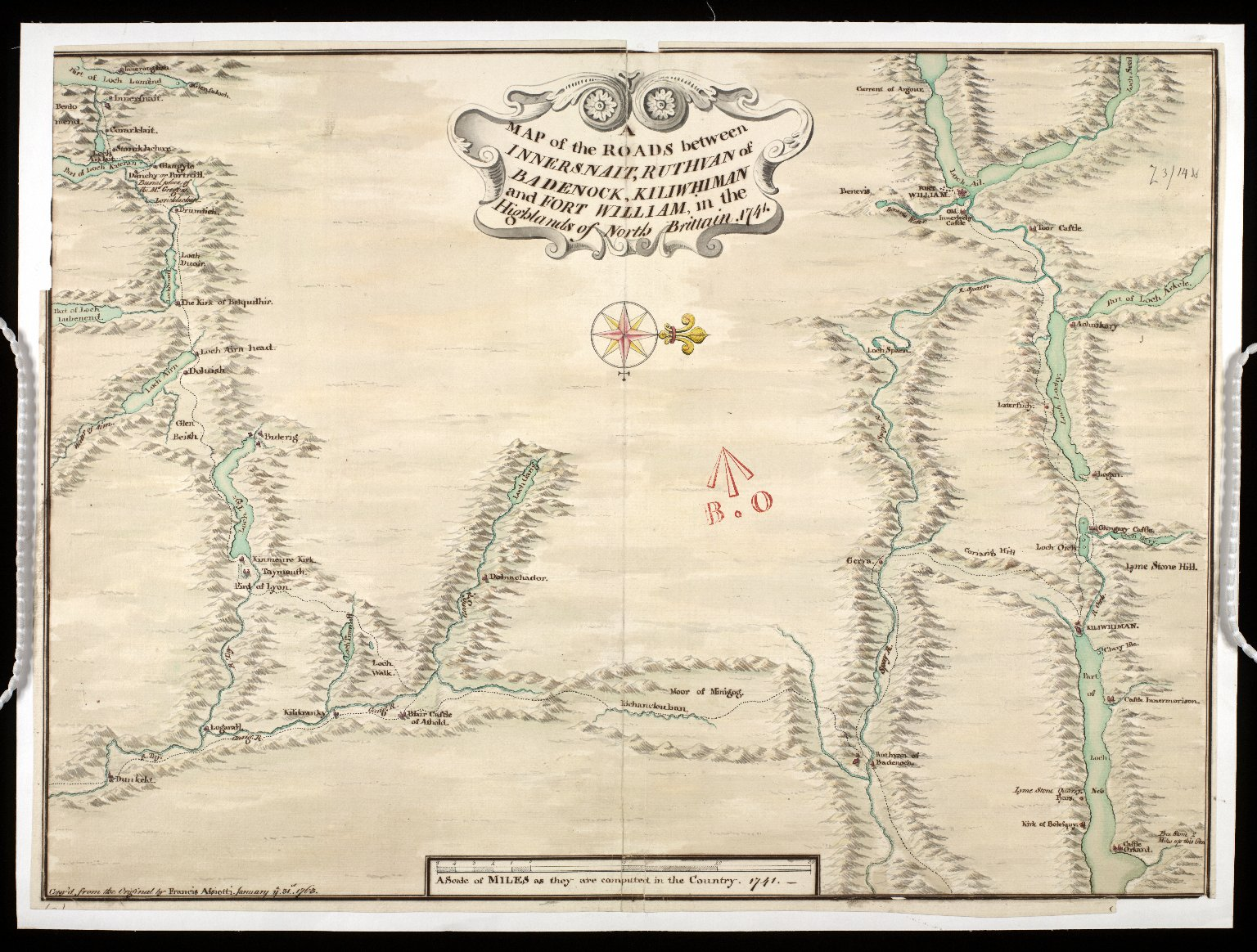 A Map of the Roads between Innersnait, Ruthvan of Badenock, Kiliwhiman and Fort William, in the Highlands of North Brittain [1718] 1741[copy] [1 of 1]