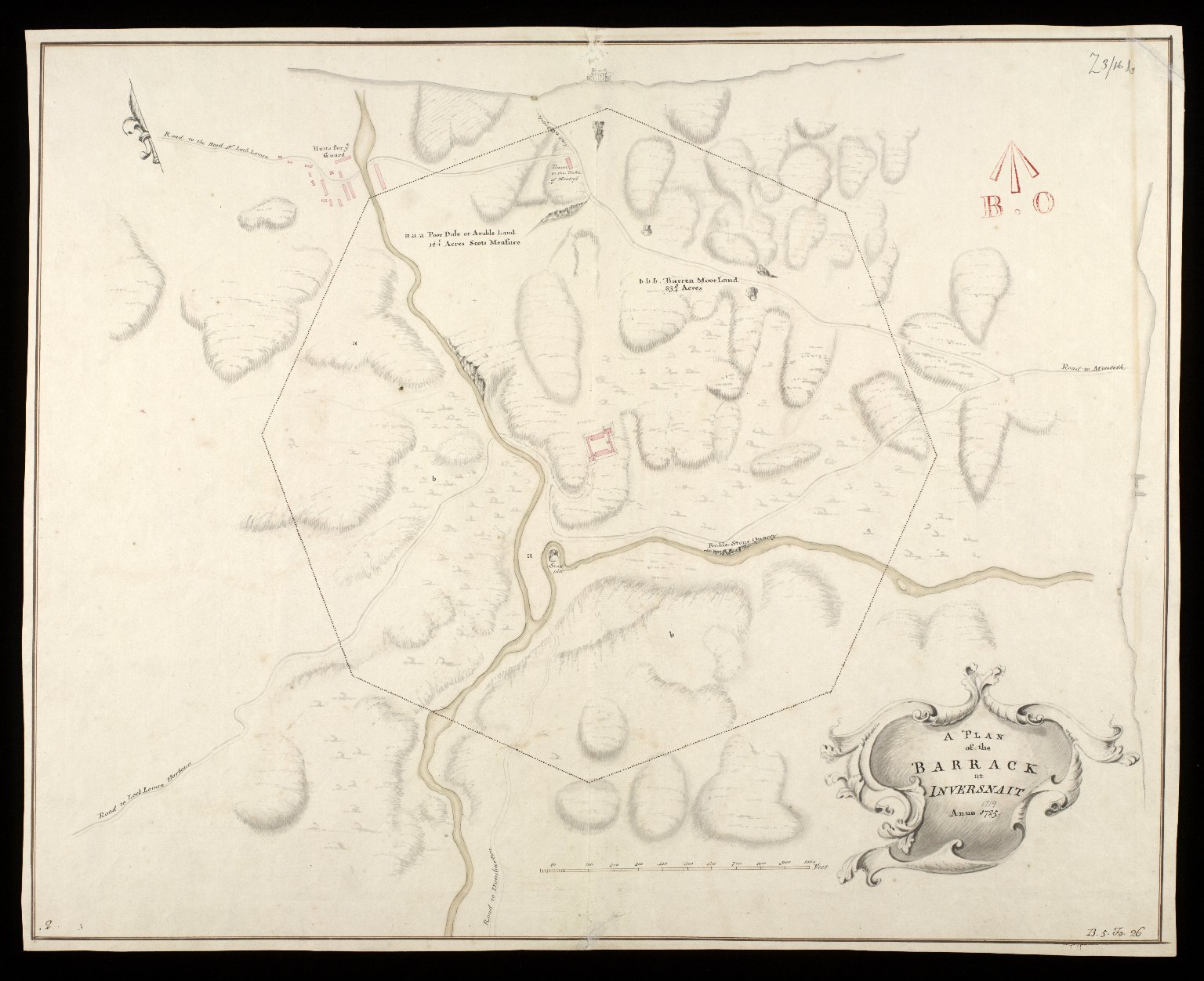 A Plan of the barrack at Inversnait [i.e. Inversnaid] 1719 [copied in] anno 1725 [1 of 1]