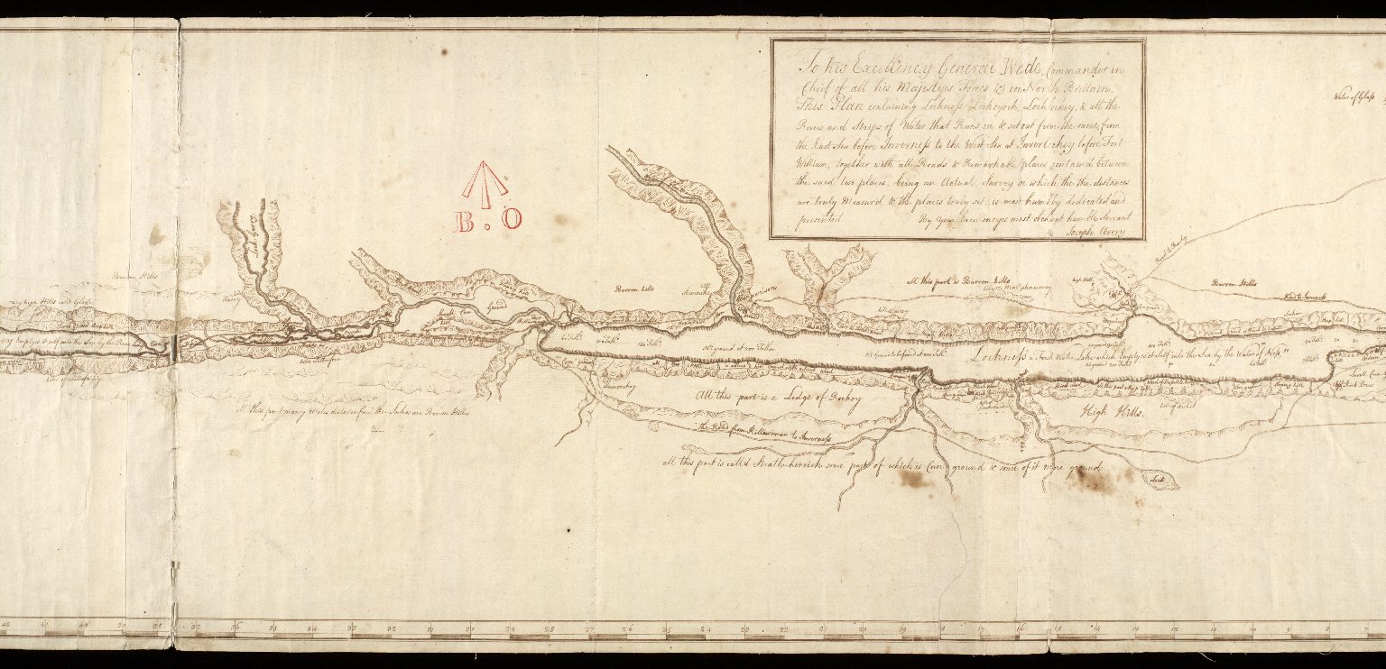 This Plan containing Lochness Lochoyoch, Lochlochey, & all the Rivers and Strips of water that Runs in & set out from the same, from the East Sea before Inverness to the West Sea at Inverlochey before Fort William ..... etc. [2 of 3]