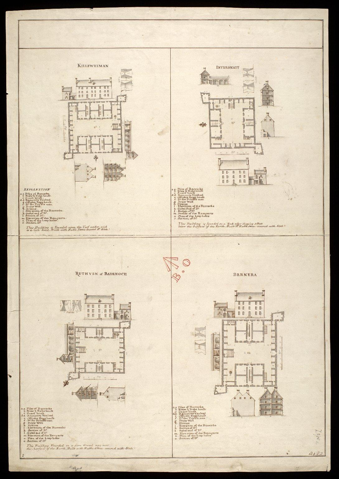 Killewhiman [i.e. Kiliwhimen], Inversnait [i.e. Inversnaid], Ruthven of Badenoch, Bernera [copy] [1 of 1]