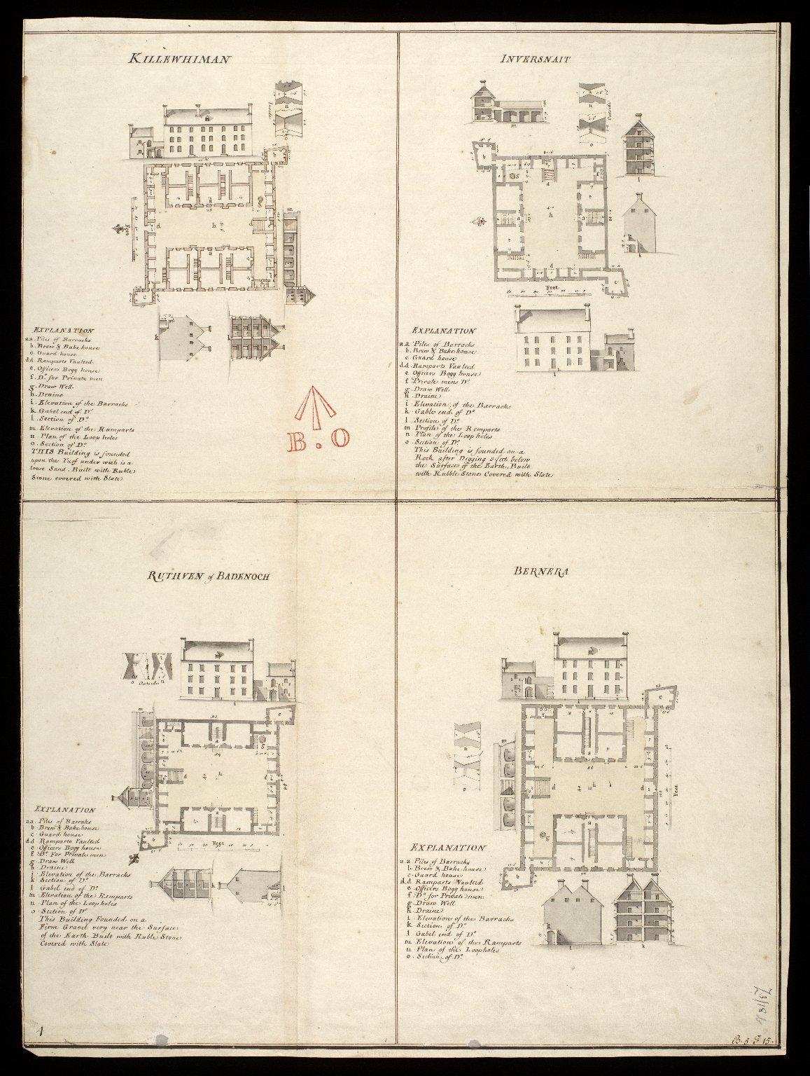 Killewhiman [i.e. Kiliwhimen], Inversnait [i.e. Inversnaid], Ruthven of Badenoch, Bernera [1 of 1]