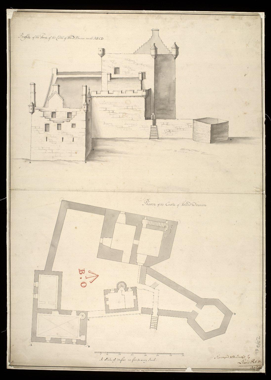 Plann of the Castle of Island Dounan : profile of the front of the Castle of Island Dounan [i.e. Eilean Donan] markt ABCD [1 of 1]