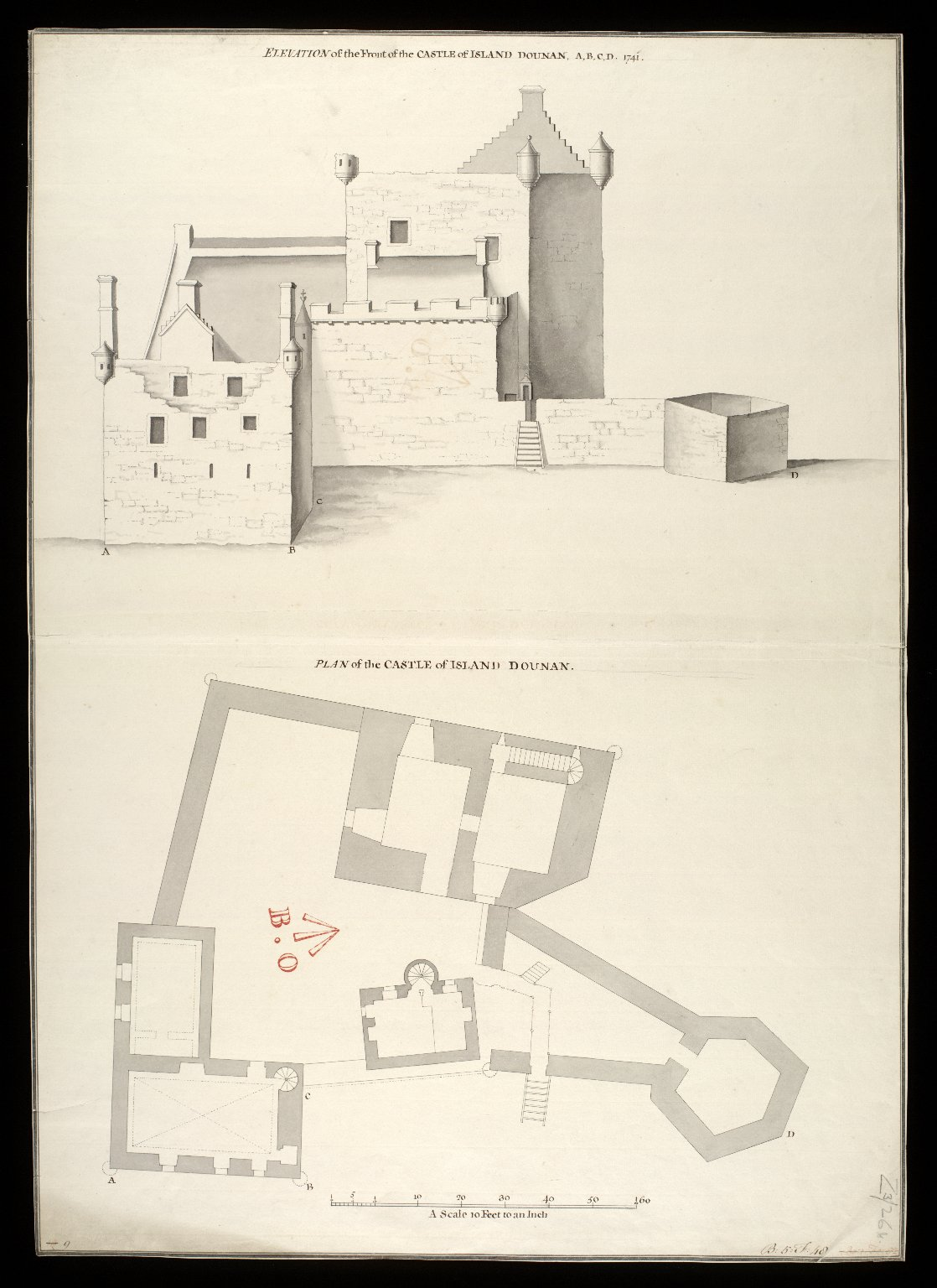 Plan of the Castle of Island Dounan : elevation of the front of the Castle of Island Dounan [i.e. Eilean Donan] A,B,C,D [between 1712 and 1716] [copy] 1741 [1 of 1]