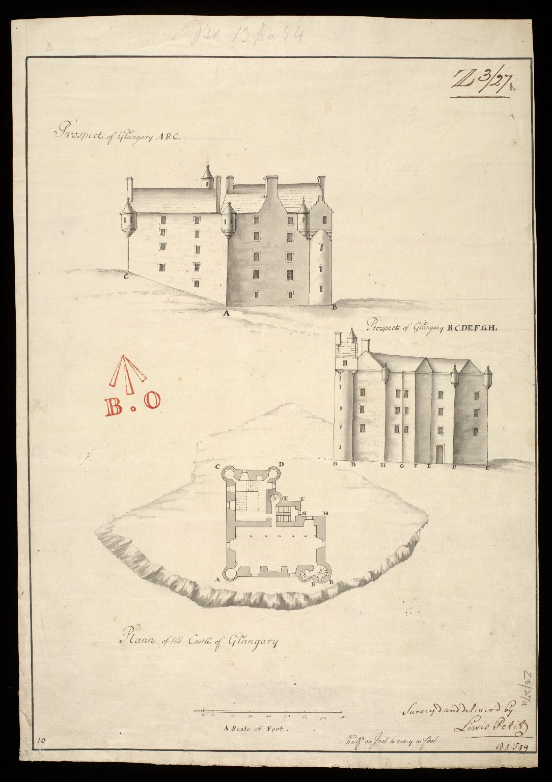 Plann of the Castle of Glangary : prospect of Glangary [i.e. Glengarry] ABC; prospect of Glangary BCDEFGH [1 of 1]