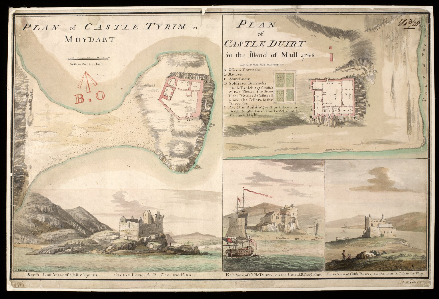 Plan of Castle Tyrim [i.e. Tioram] in Muydart [i.e. Moidart] : plan of Castle Duirt [i.e. Duart] in the Island of Mull 1748 [1 of 1]