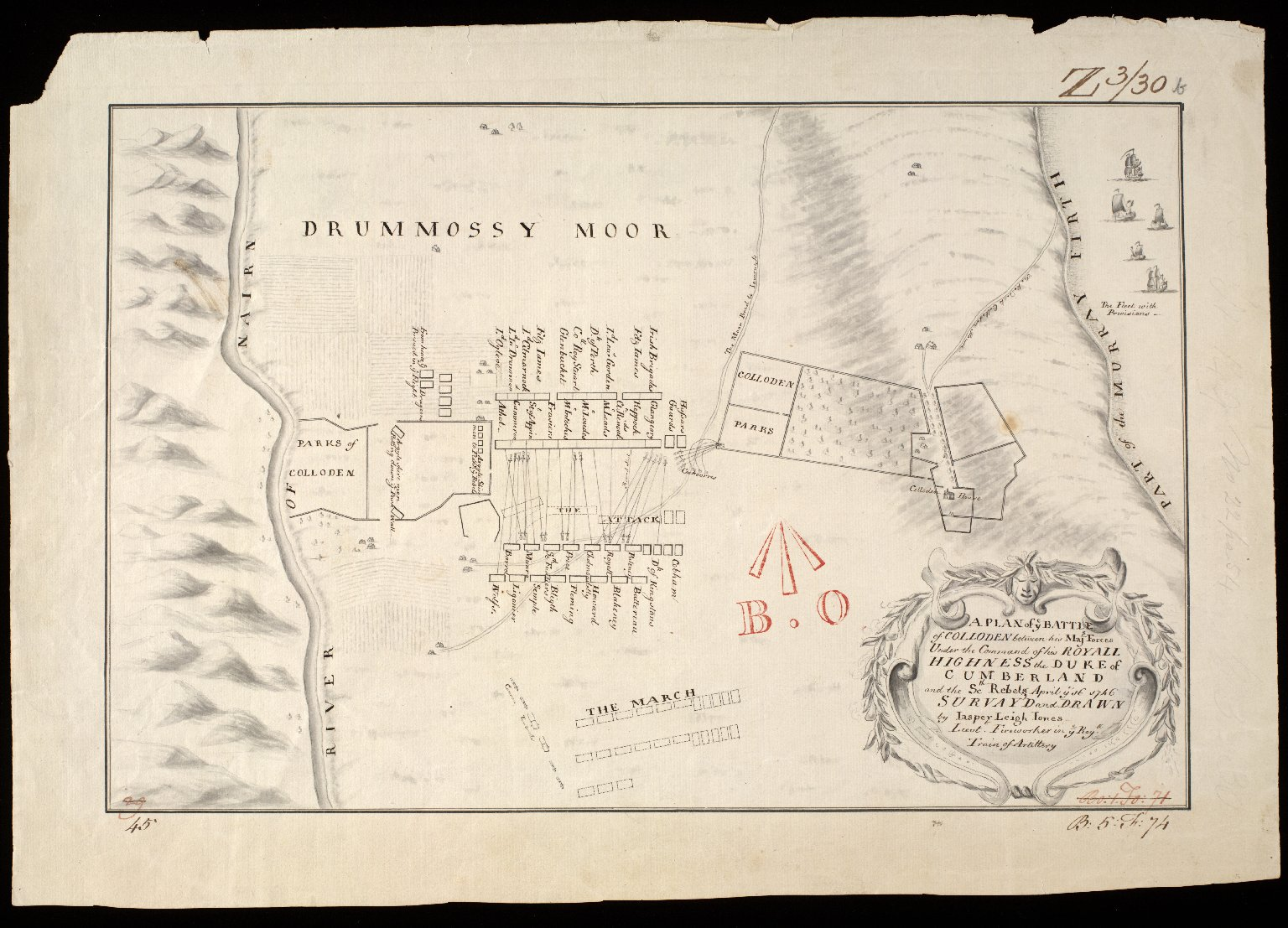 A Plan of ye Battle of Colloden between his Majs. Forces Under the Command of his Royall Highness the Duke of Cumberland and the Sctt. Rebels April ye 16 1746 [1 of 1]