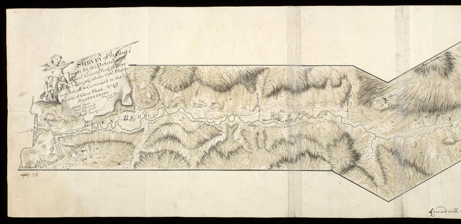 A Survey of the Road made by the Detachmt. of Genl. Guise's Regt. in Brae Mar begining where Genl. Blakeney's left off; & Continue'd to the Spittle of Glen Shee 1749 [1 of 2]
