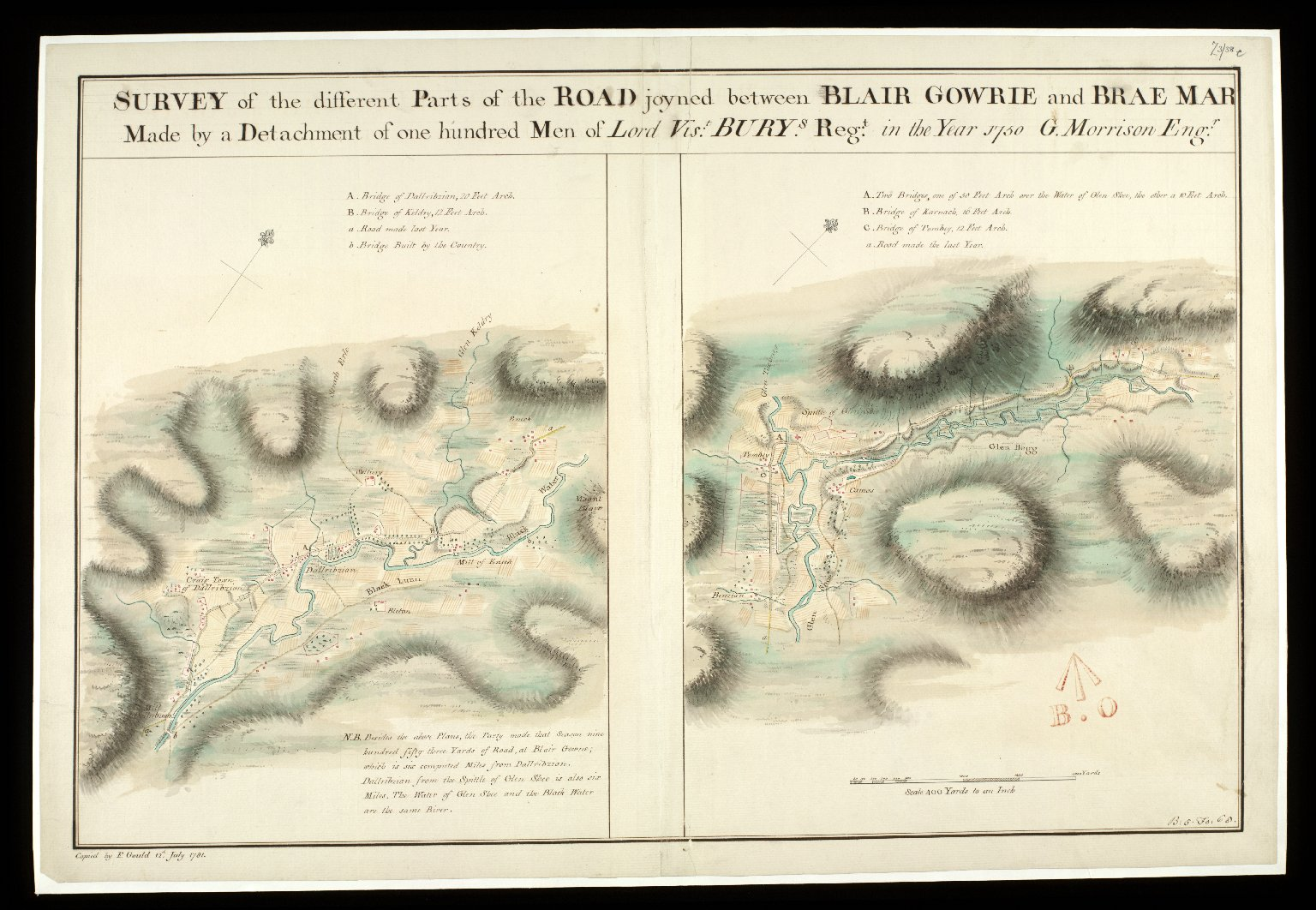 Survey of the different parts of the Road joyned betwixt Blair Gowrie and Brae Mar; Made by a Detachment of one Hundred Men of Lord Viscount Bury's Regt. in the Year 1750 [copy] [1 of 1]
