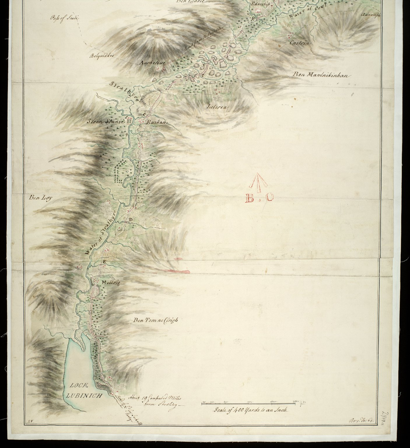 Survey of Part of the Road from Sterling to Fort William; Made by the Party of Genl. Pultneys Regiment in 1749 [2 of 2]