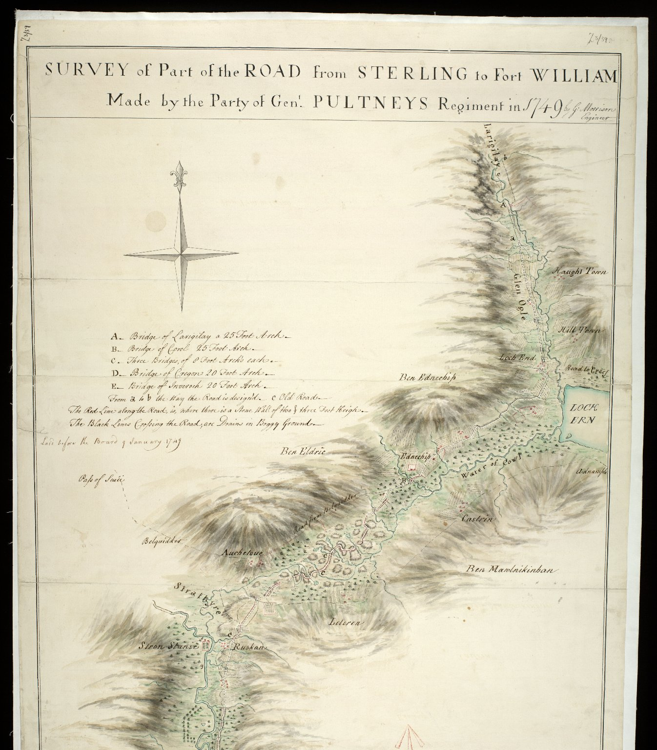 Survey of Part of the Road from Sterling to Fort William; Made by the Party of Genl. Pultneys Regiment in 1749 [1 of 2]