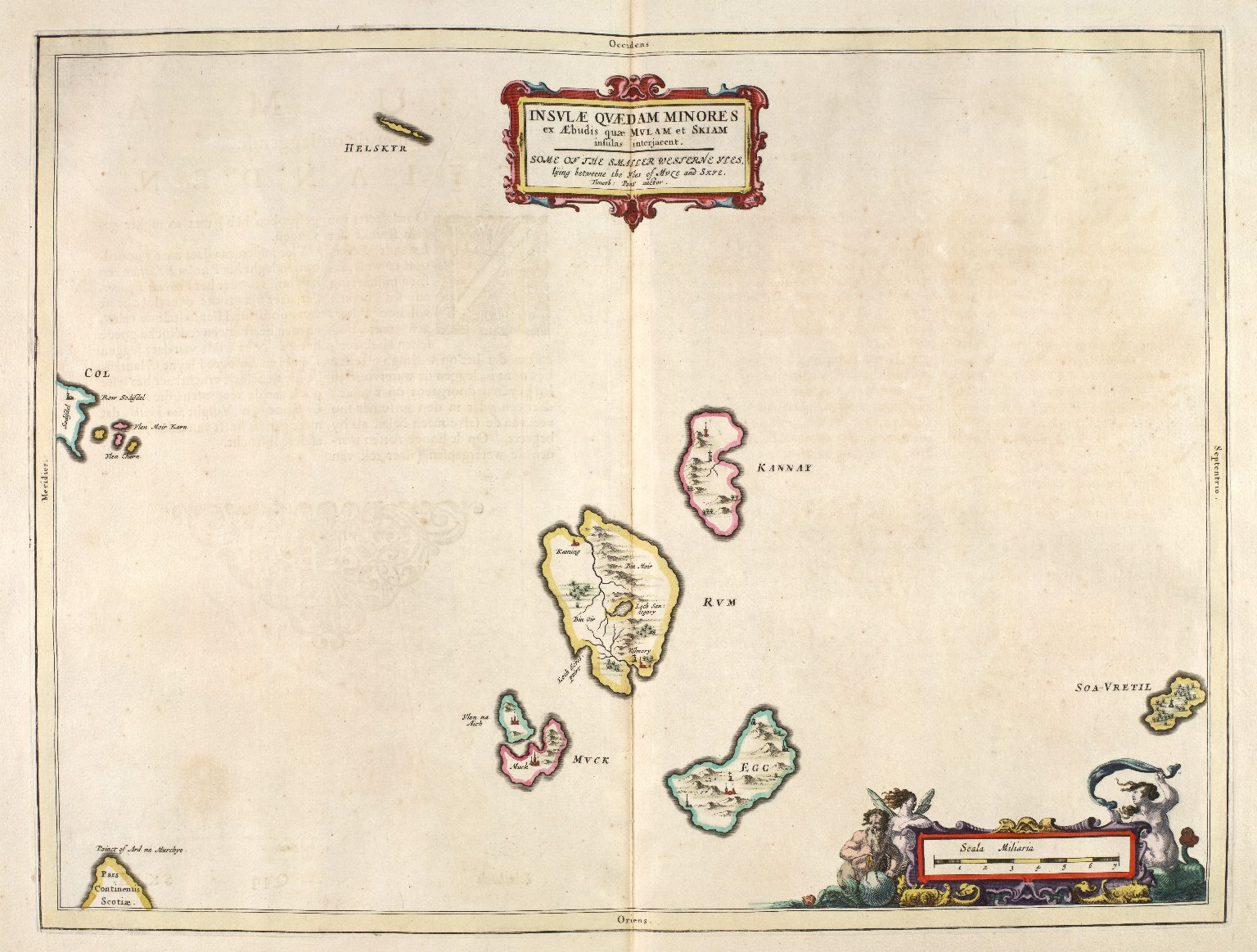 Insulæ Quædam Minores ex Æbudis quæ Mulam et Skiam insulas interjacent. Some of the Smaller Westerne Yles, lying betweene the Yles of Mule and Skye. [1 of 1]