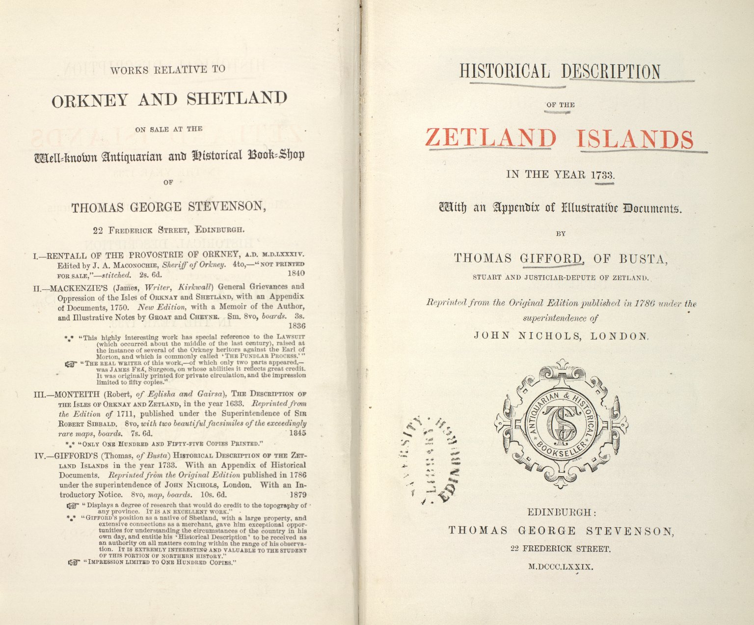 Historical Description of the Zetland Islands in the year 1733. [01 of 25]