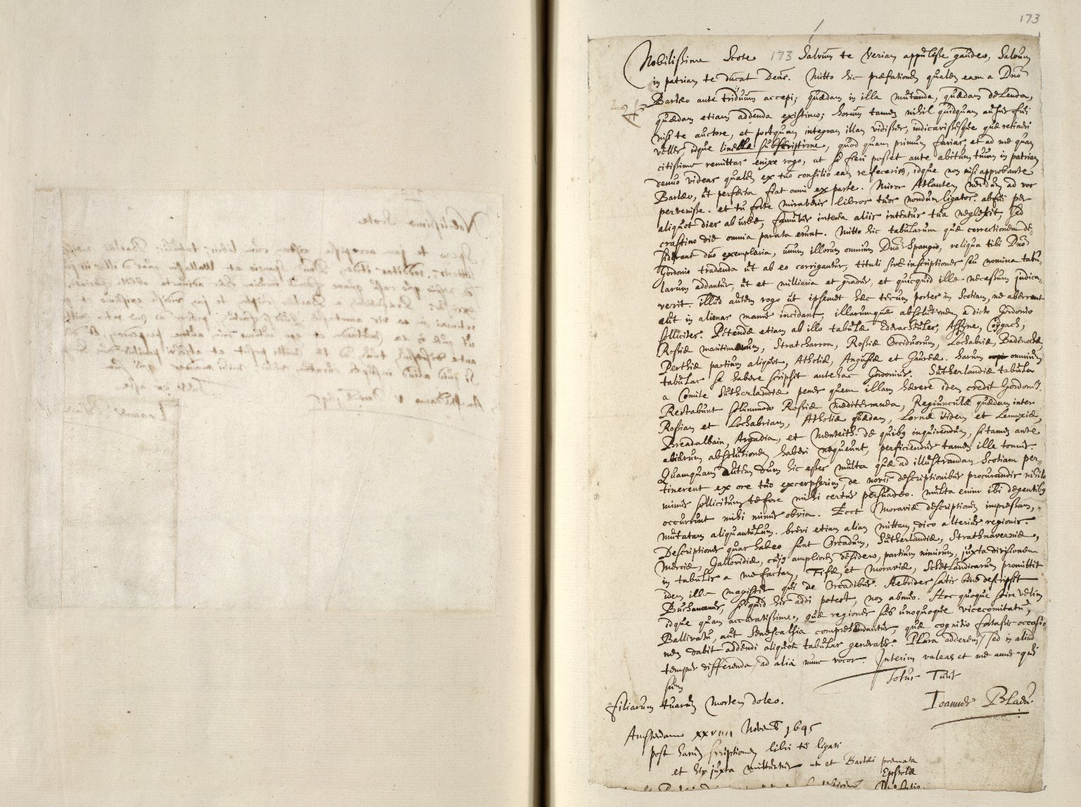 [A collection of ALS to Sir John Scot, Lord Scotstarvet, from W.J. and Joan Blaeu, Amsterdam] [12 of 27]