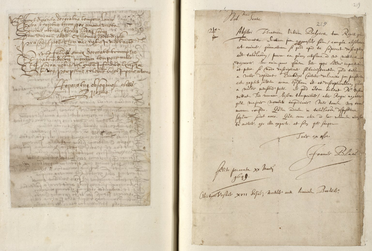 [A collection of ALS to Sir John Scot, Lord Scotstarvet, from W.J. and Joan Blaeu, Amsterdam] [19 of 27]