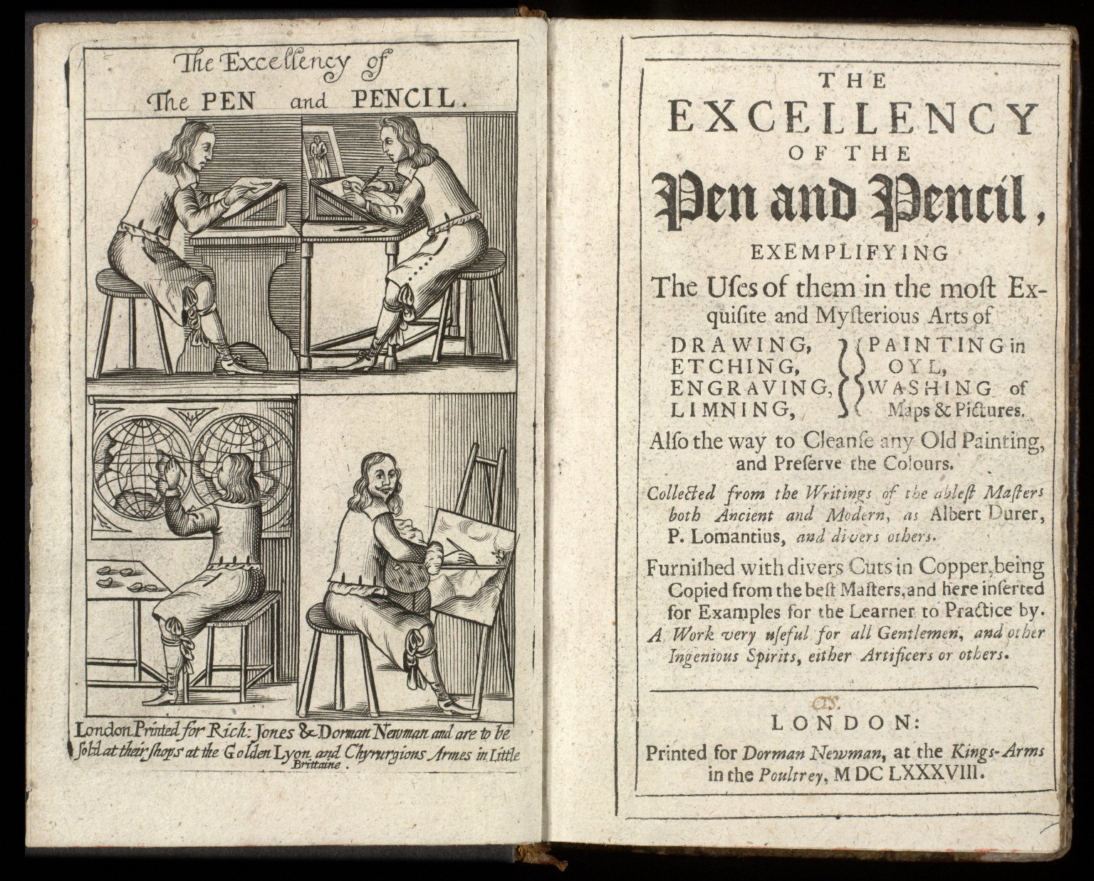 The excellency of the pen and pencil, : exemplifying the uses of them in the most exquisite and mysterious arts of drawing, etching, engraving, limning, painting in oyl, washing of maps & pictures. ... [1 of 8]