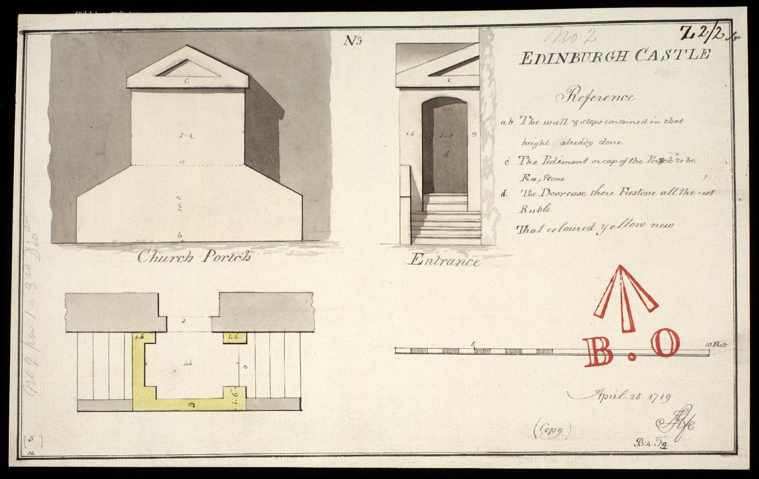 Church Portch; No.I; Edinburgh Castle; April 25 1719 copy [1 of 1]