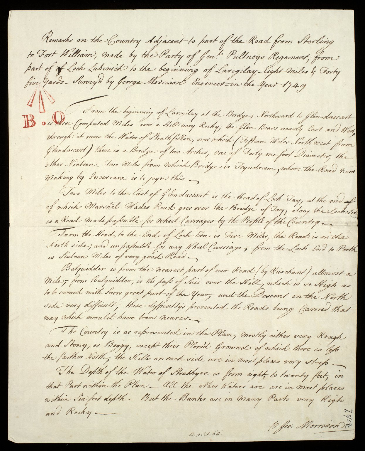 Remarks on the Country Adjacent to part of the Road from Sterling to Fort William, made by the Party of Genl. Pultneys Regement, from part of Loch Lubinich to the beginning of Larigilay. Eight Miles and Forty five Yards [1 of 2]