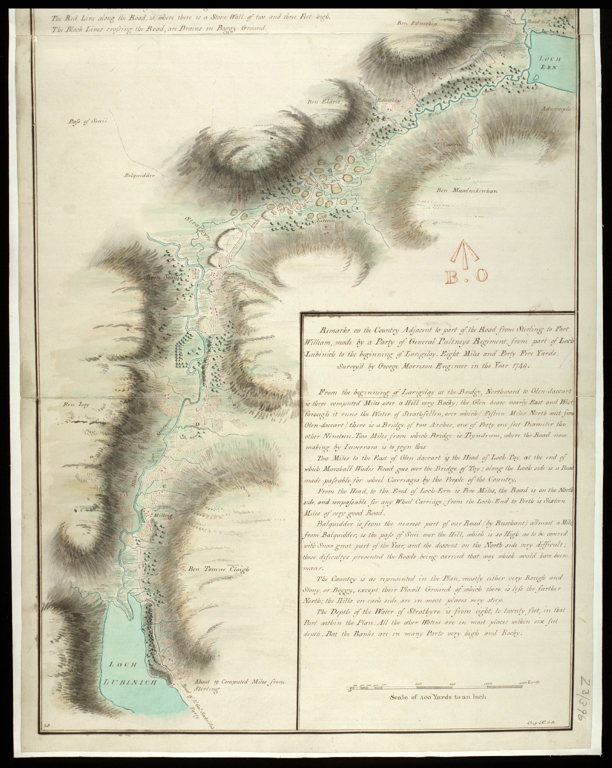 Survey of Part of the Road from Sterling to Fort William; Made by the Party of Genl. Pultneys Regiment in 1749 [copy] [2 of 2]