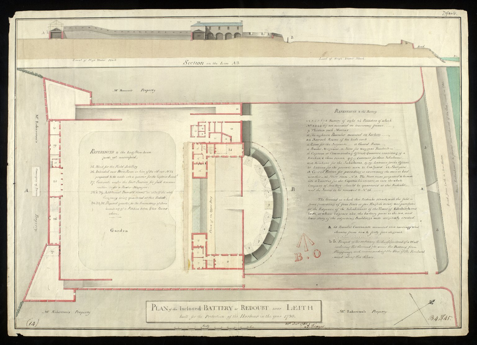 Plan of the inclosed battery or redoubt near Leith : built for the protection of the harbour in the year 1780 [1 of 2]