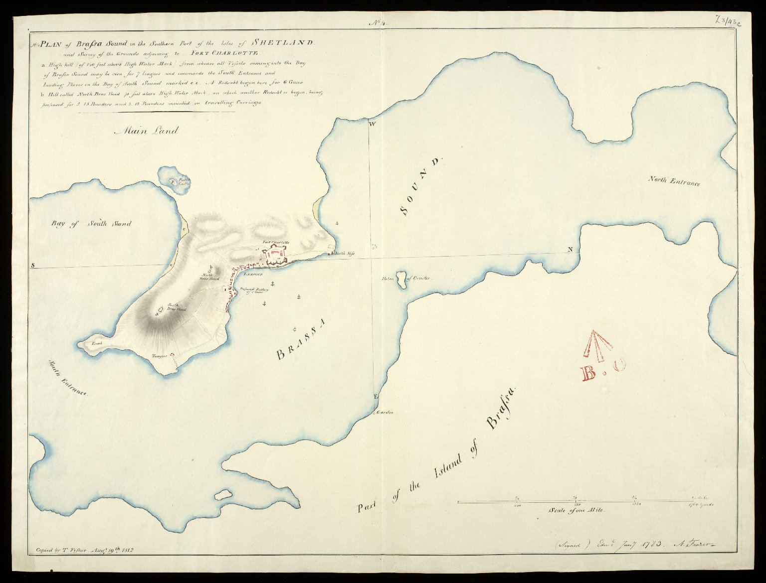 Plan of Brassa-Sound [i.e. Bressay Sound] in the southern part of the Isles of Shetland : and survey of the grounds adjoining to Fort Charlotte, No.4 [1783] [copy] [1 of 1]