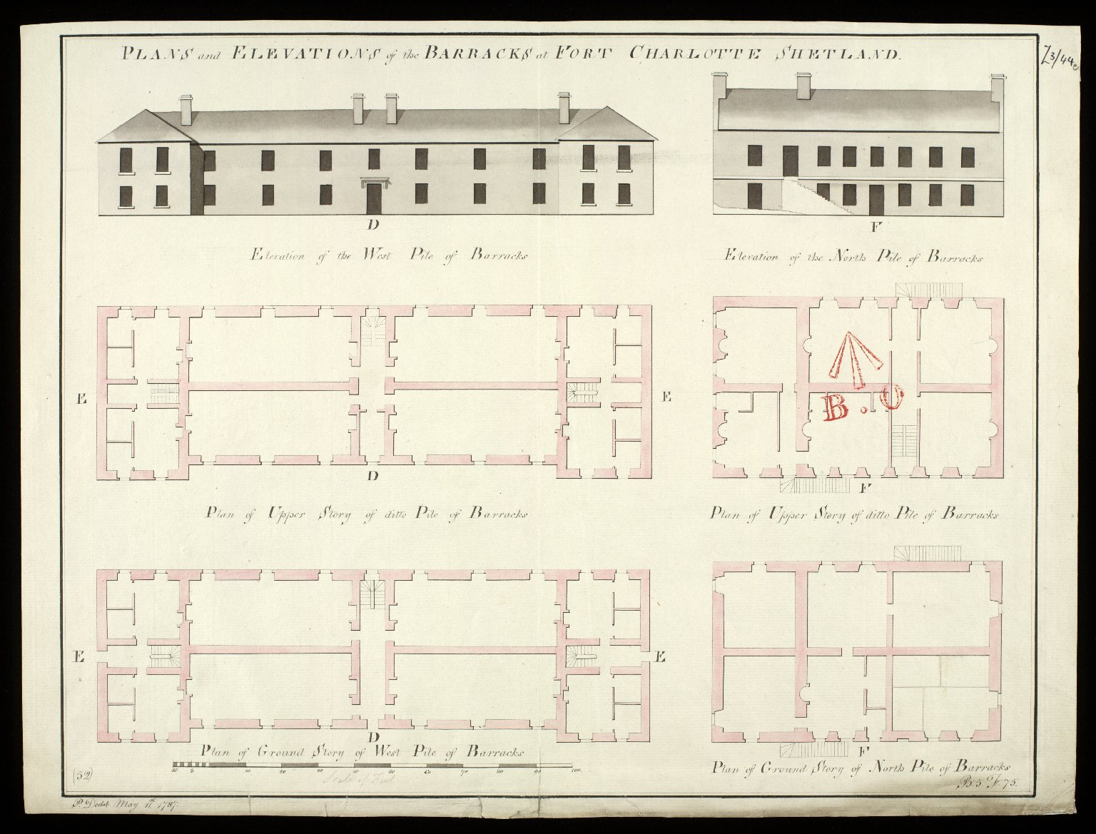 Plans and elevations of the barracks at Fort Charlotte Shetland [1786] [copy] [1 of 1]