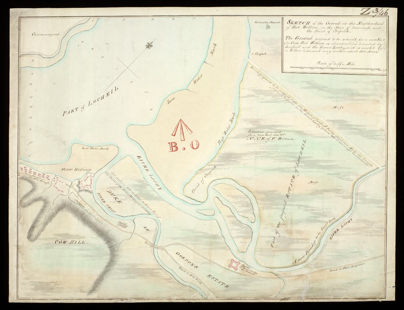 Sketch of the ground in the neighbourhood of Fort William, in the shire of Inverness, and the Point of Corpach. [1 of 1]