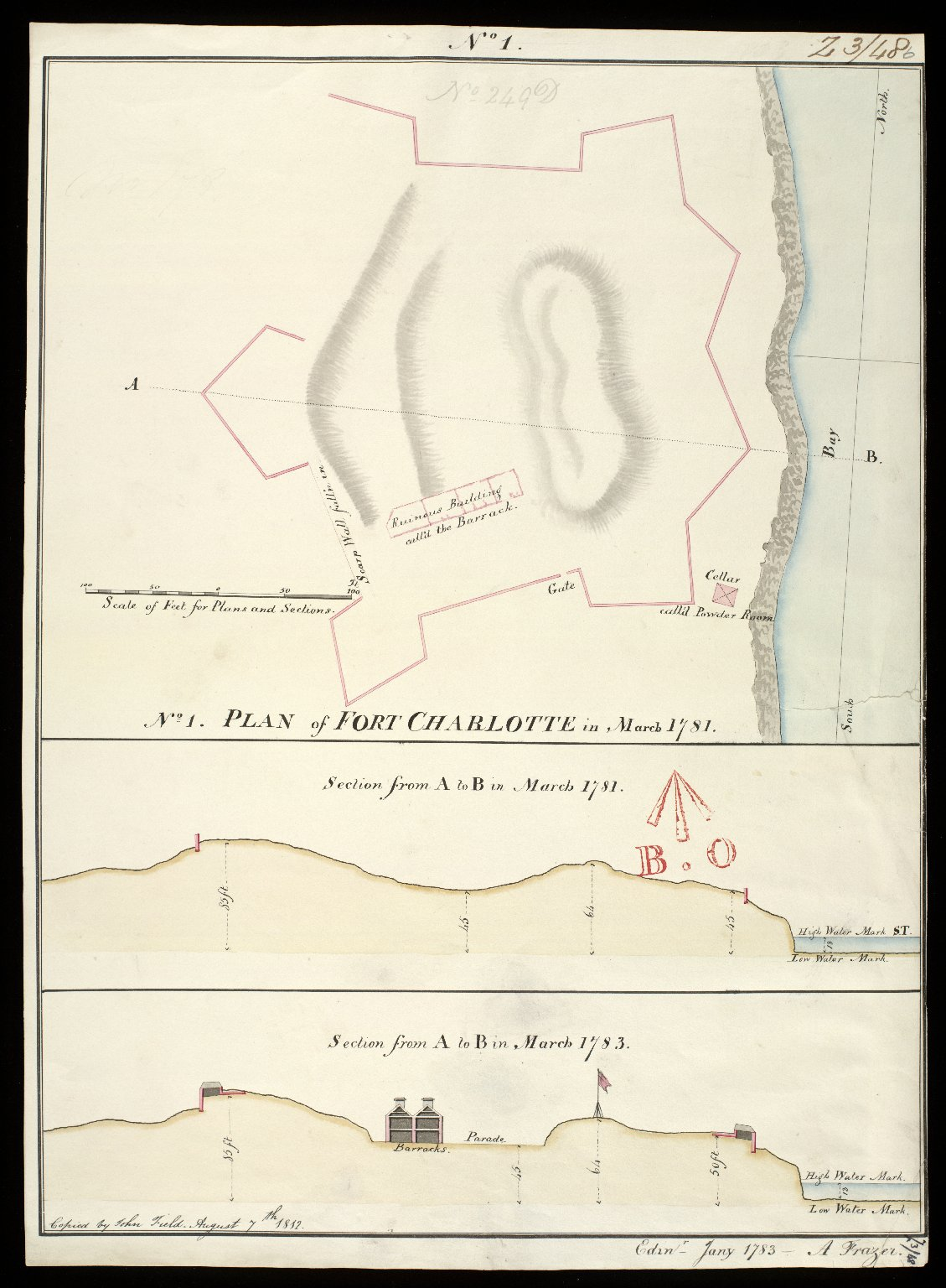 Plan of Fort Charlotte in March 1781 No. 1 : section from A to B in March 1781; section from A to B January 1783 [copy] [1 of 1]