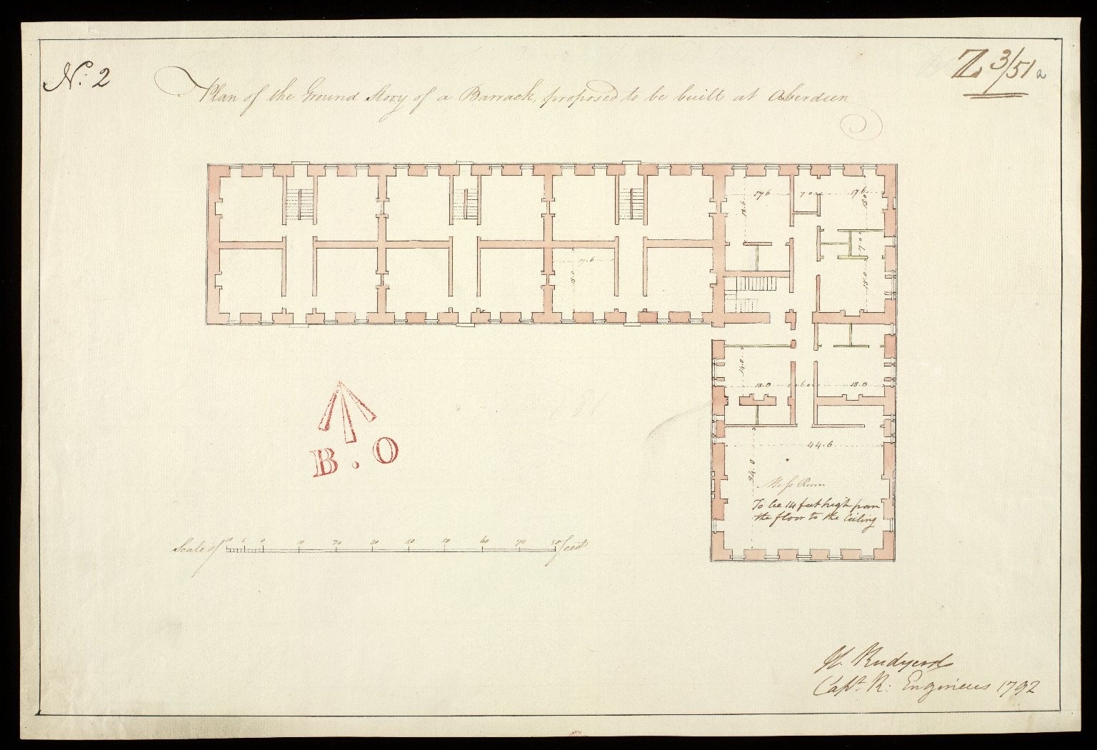 Plan of the ground story [sic] of a barrack, proposed to be built at Aberdeen No. 2 [1 of 1]