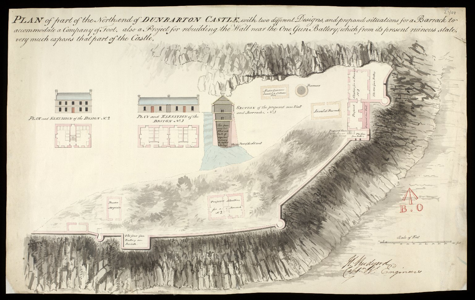 Plan of part of the north-end of Dunbarton [i.e. Dumbarton] Castle [1 of 1]