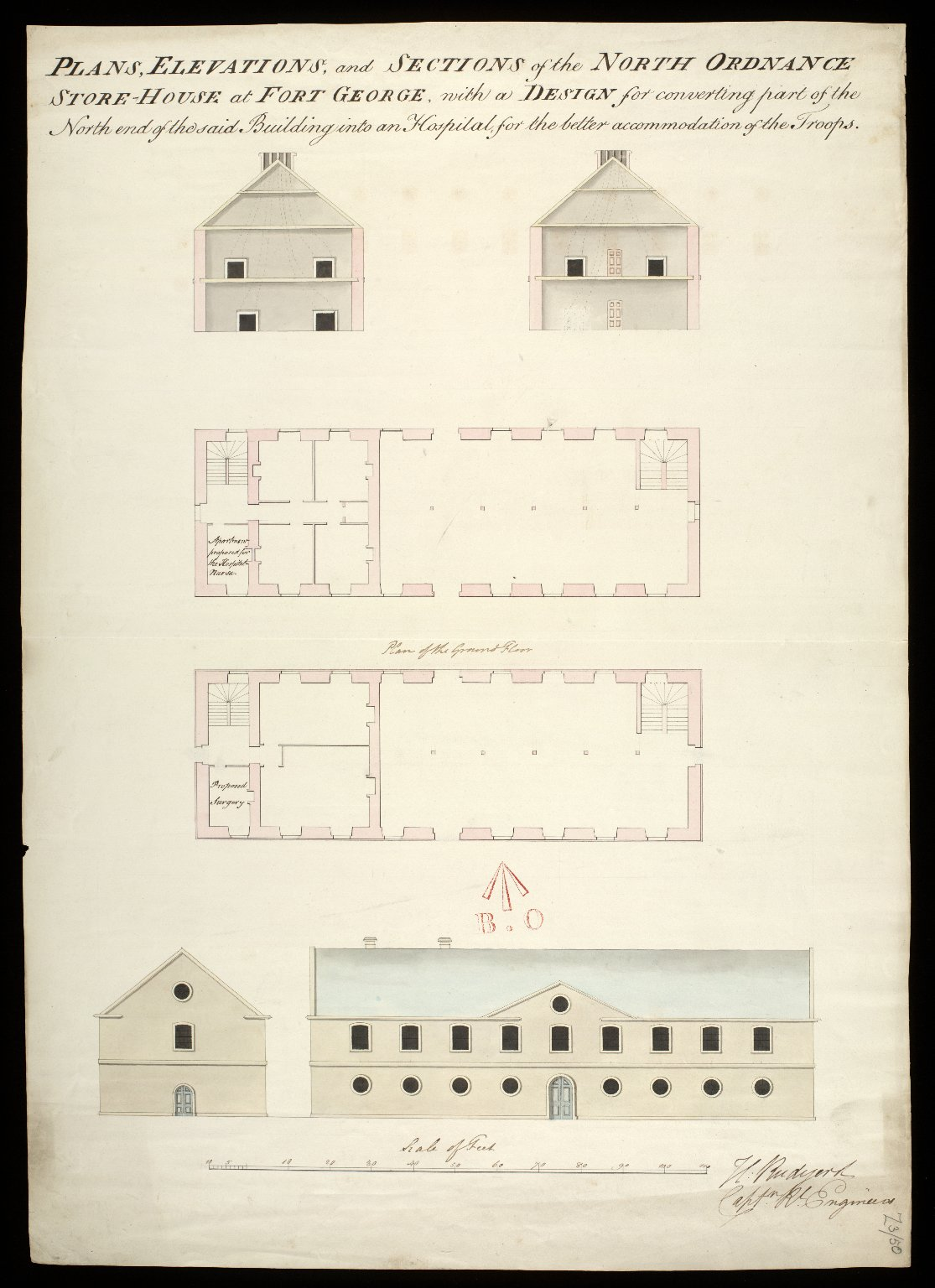 Plans, elevations, and sections of the north Ordnance Store-House at Fort George : with a design for converting part of the north end of the said building into an Hospital, for the better accomodation of the Troops [1 of 1]