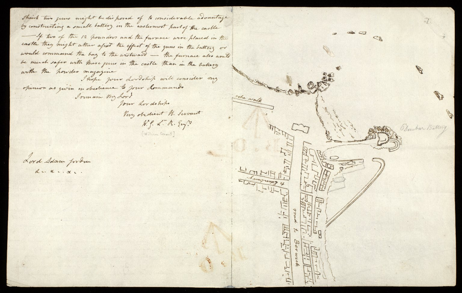 [Letter containing report on Dunbar battery with sketches] [2 of 2]