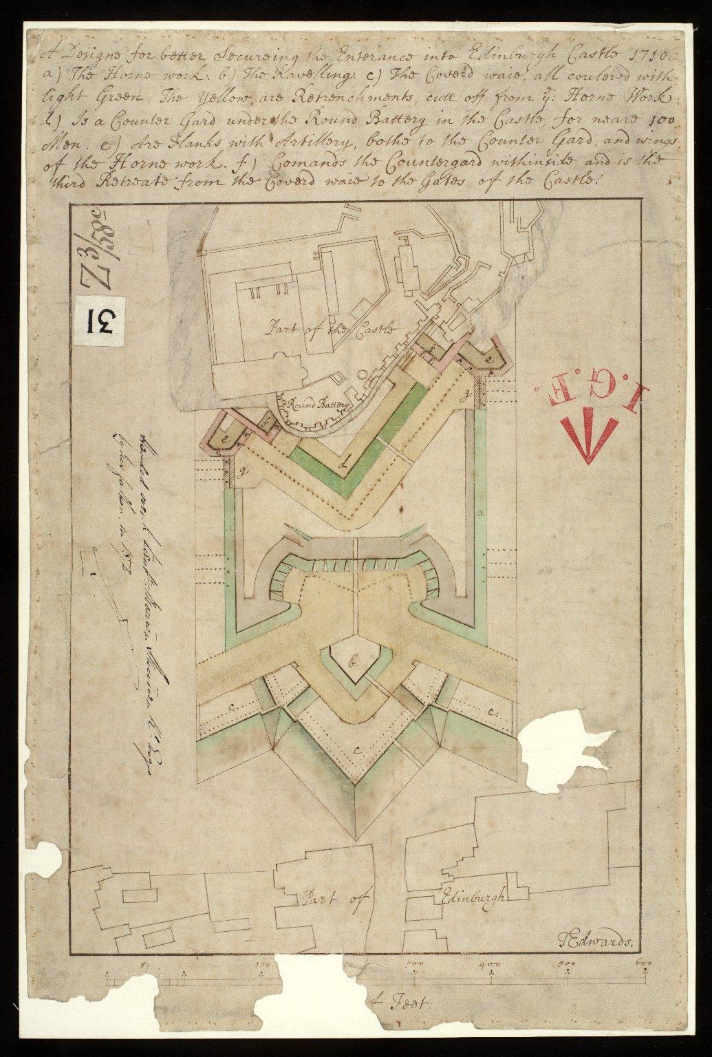 A Designe for better securing the entrance into Edinburgh Castle 1710 [1 of 1]