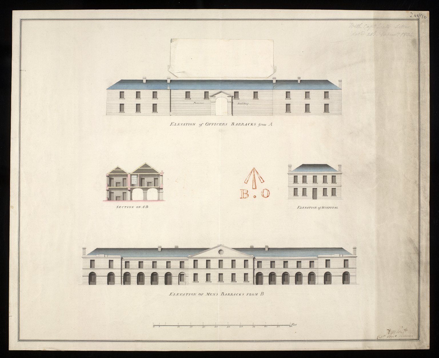 [Leith Battery] elevation of officers barracks from A : elevation of mens barracks from B; elevation of hospital; section on AB [2 of 2]