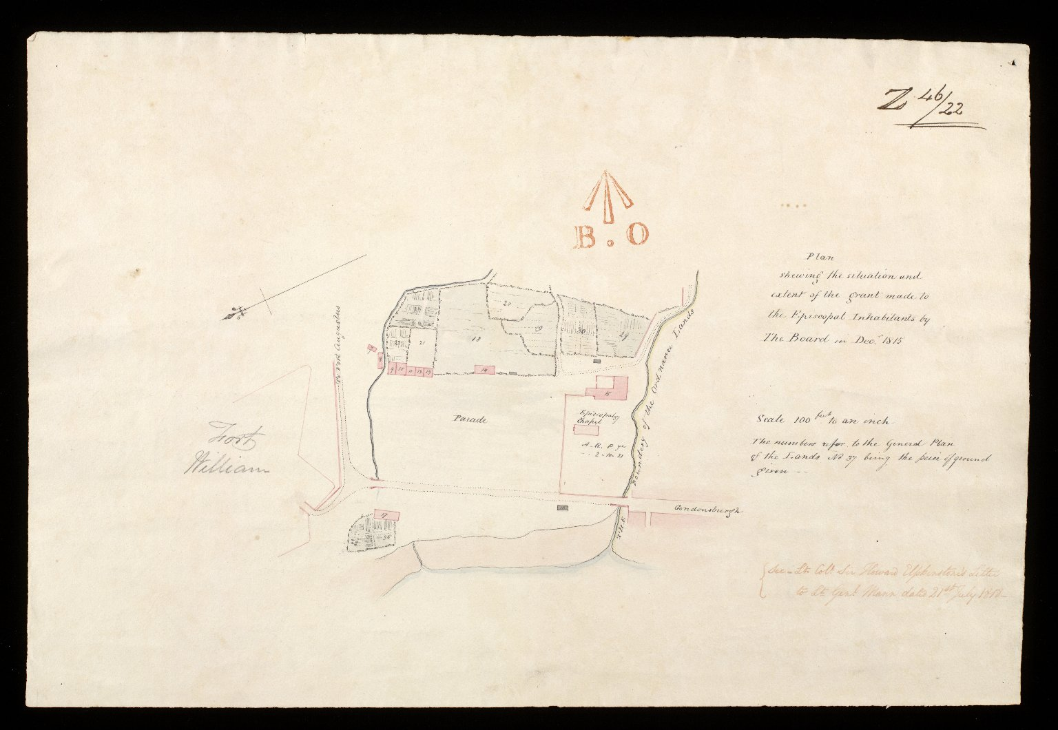 Fort William : plan shewing the situation and extent of the grant made to the Episcopal inhabitants by the Board in Decr. 1815 [1 of 2]